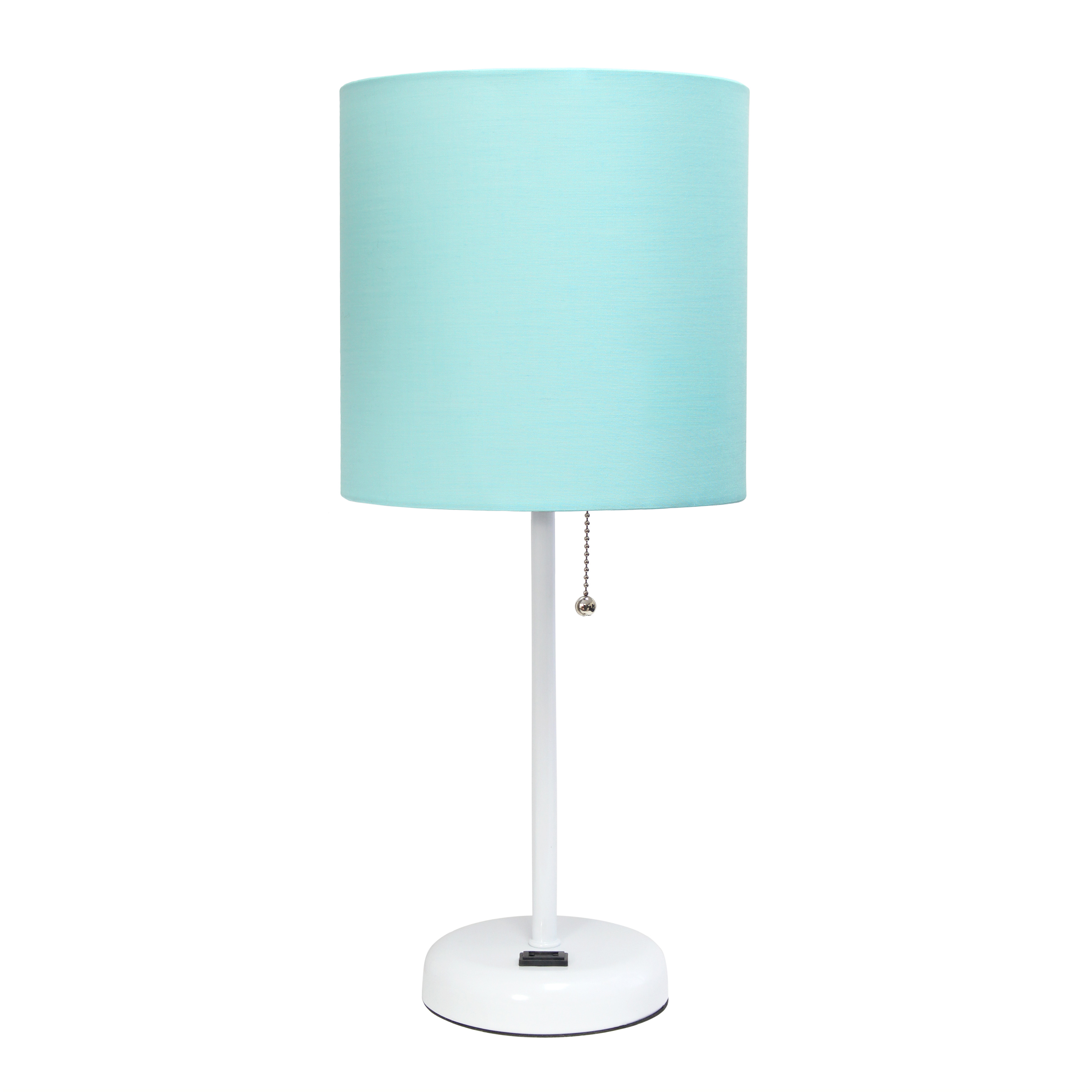 LimeLights White Stick Lamp with Charging Outlet and Fabric Shade, Aqua