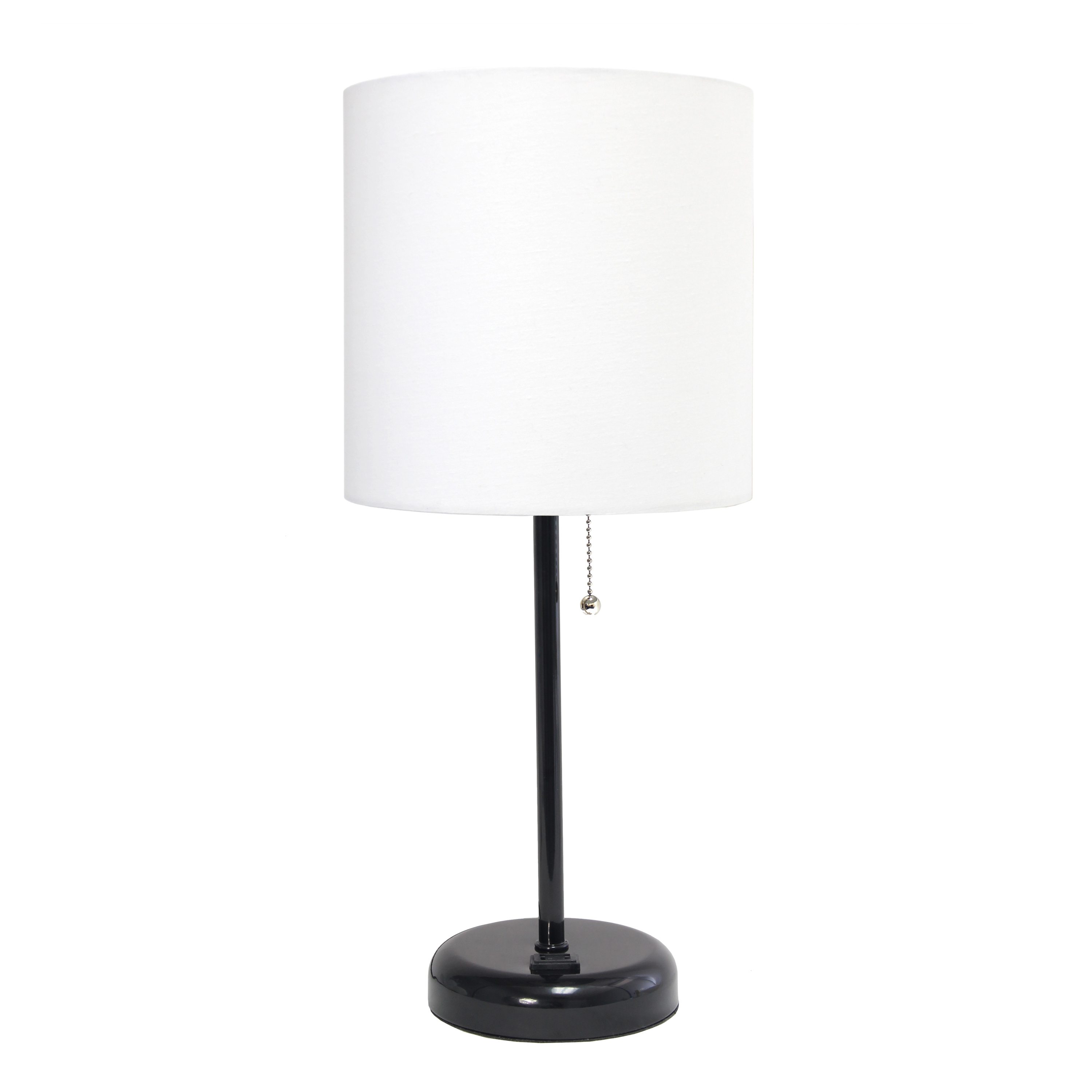 LimeLights Black Stick Lamp with Charging Outlet and Fabric Shade, White