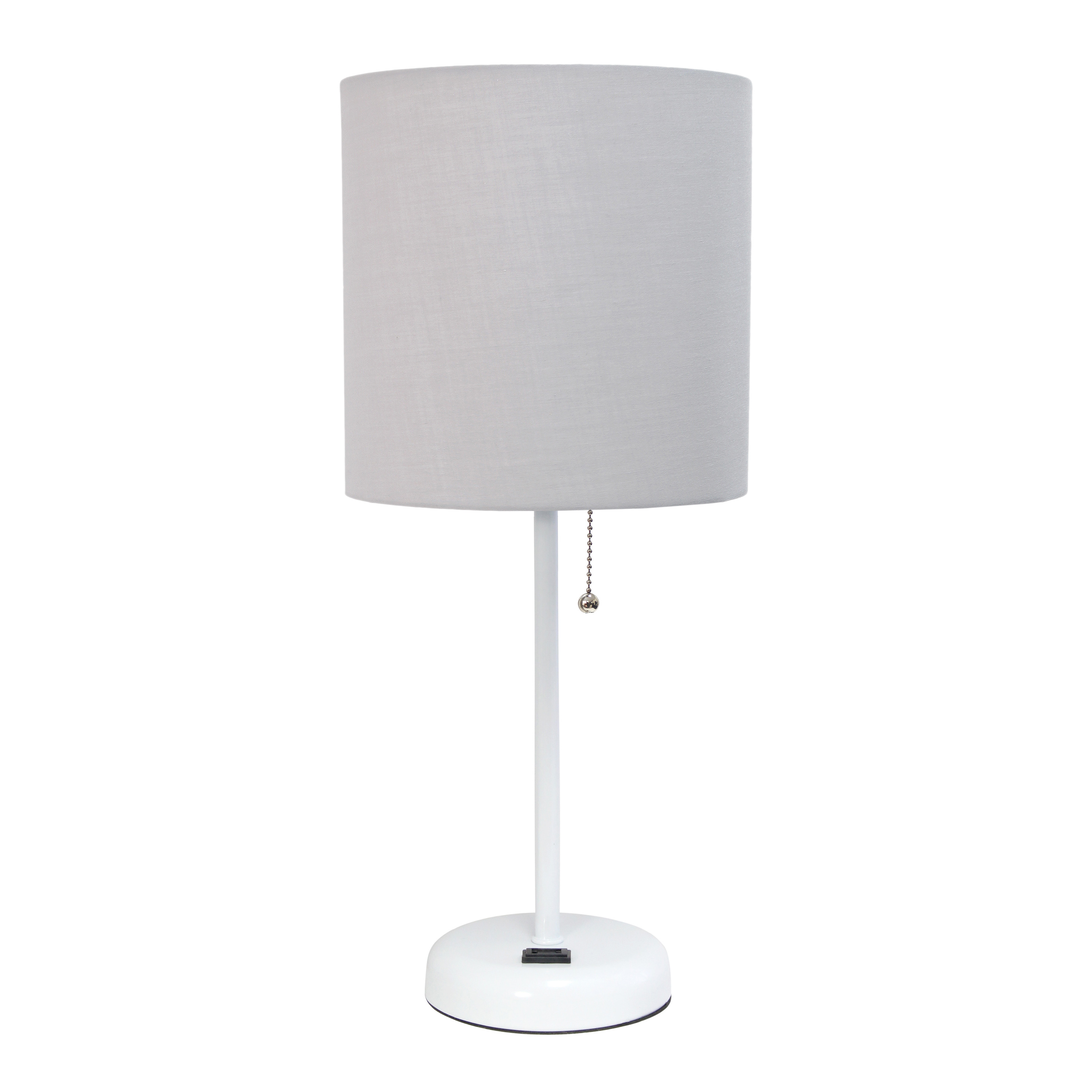 LimeLights White Stick Lamp with Charging Outlet and Fabric Shade, Gray