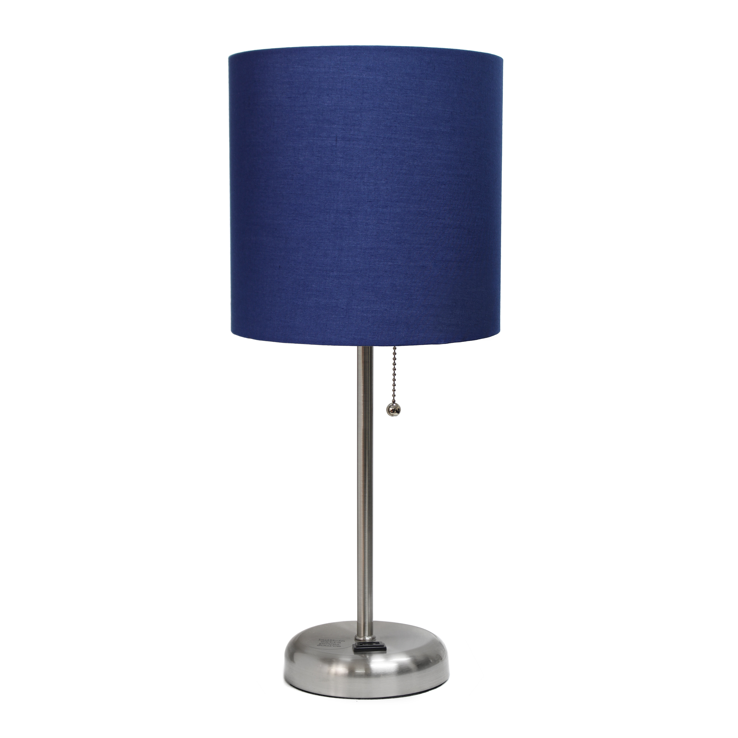 LimeLights Stick Lamp with Charging Outlet and Fabric Shade, Navy