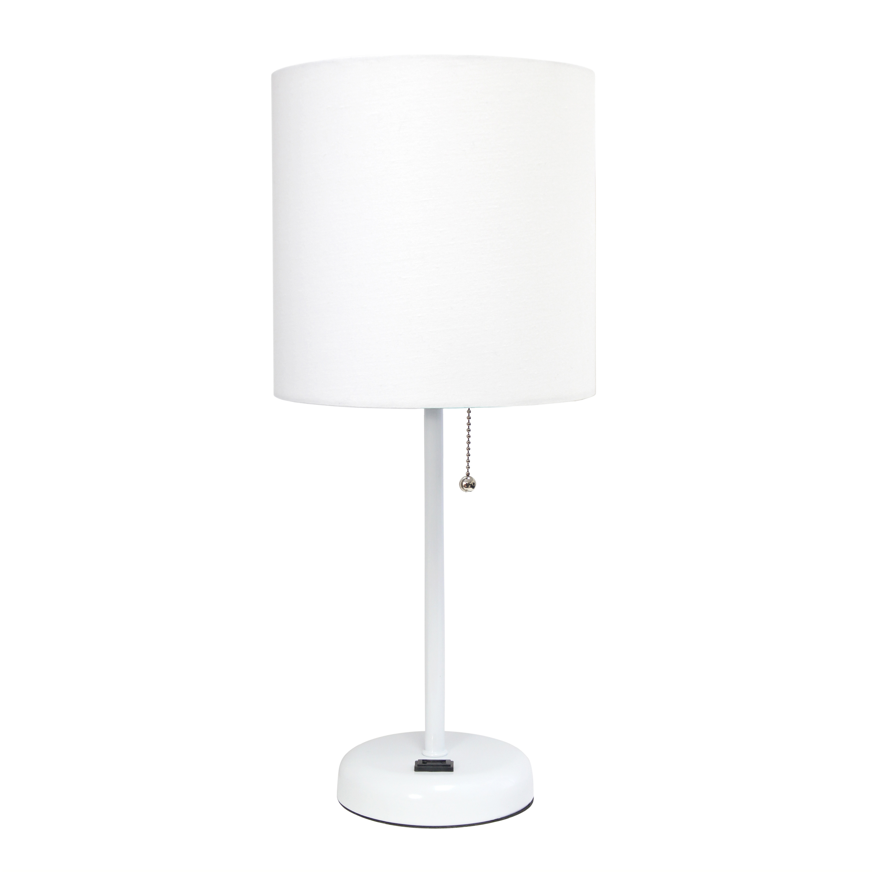 LimeLights White Stick Lamp with Charging Outlet and Fabric Shade, White