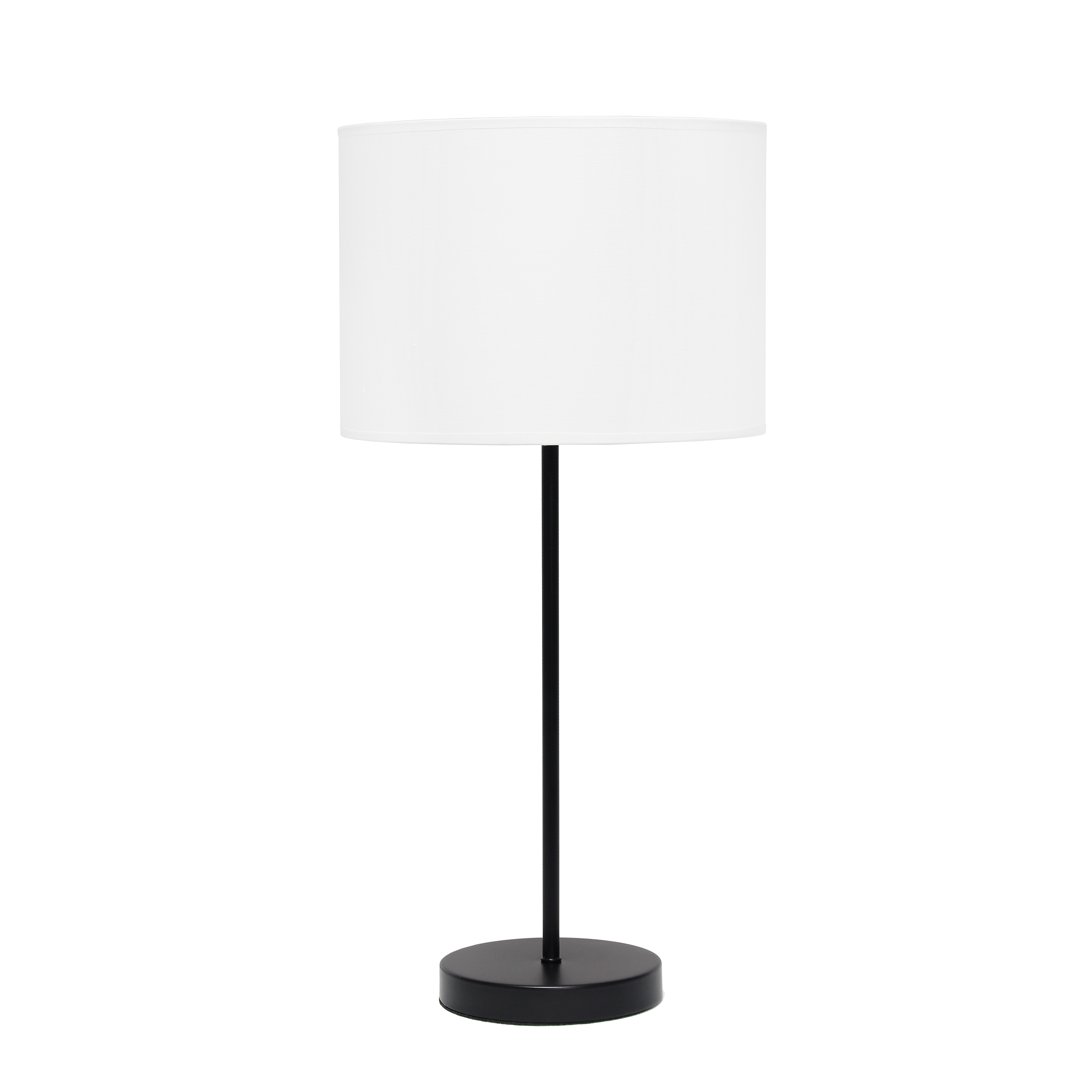 Simple Designs Black Stick Lamp with Fabric Shade, White