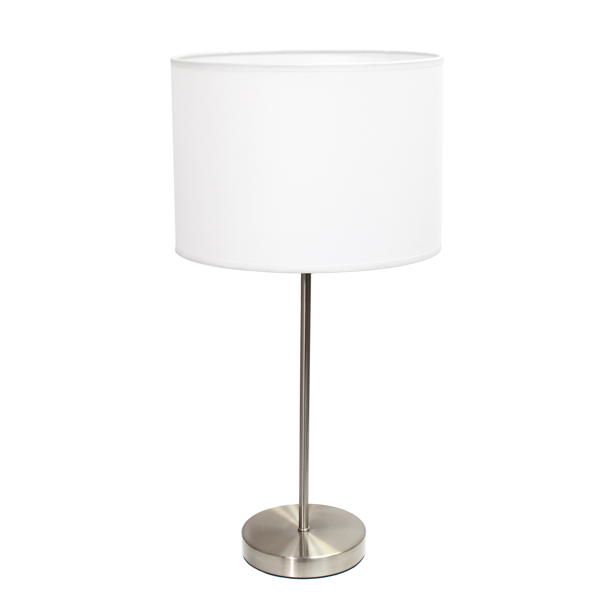 Simple Designs Brushed Nickel Stick Lamp with Fabric Shade, White