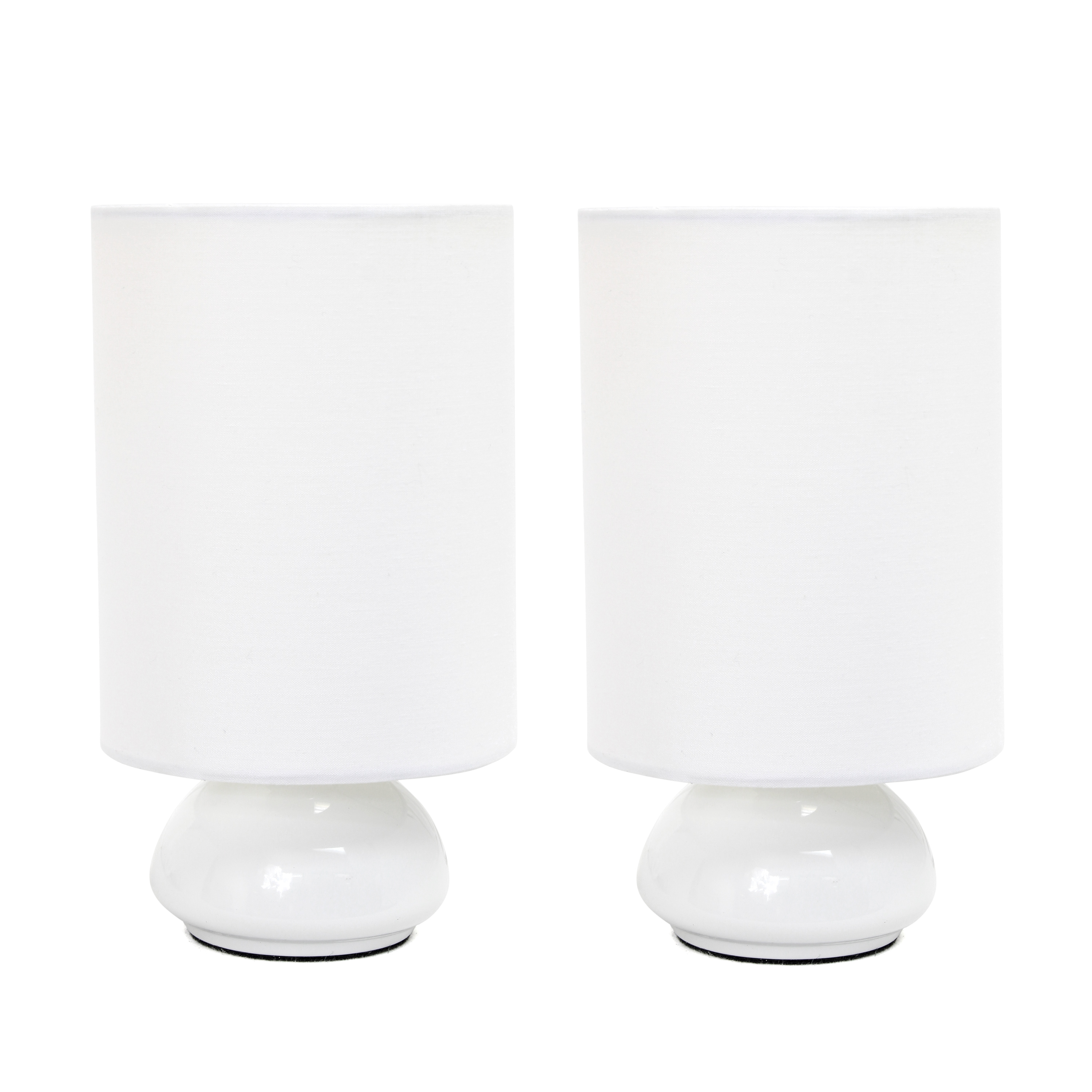 Simple Designs Gemini Colors 2 Pack Mini Touch Table Lamp Set with Fabric Shades, White