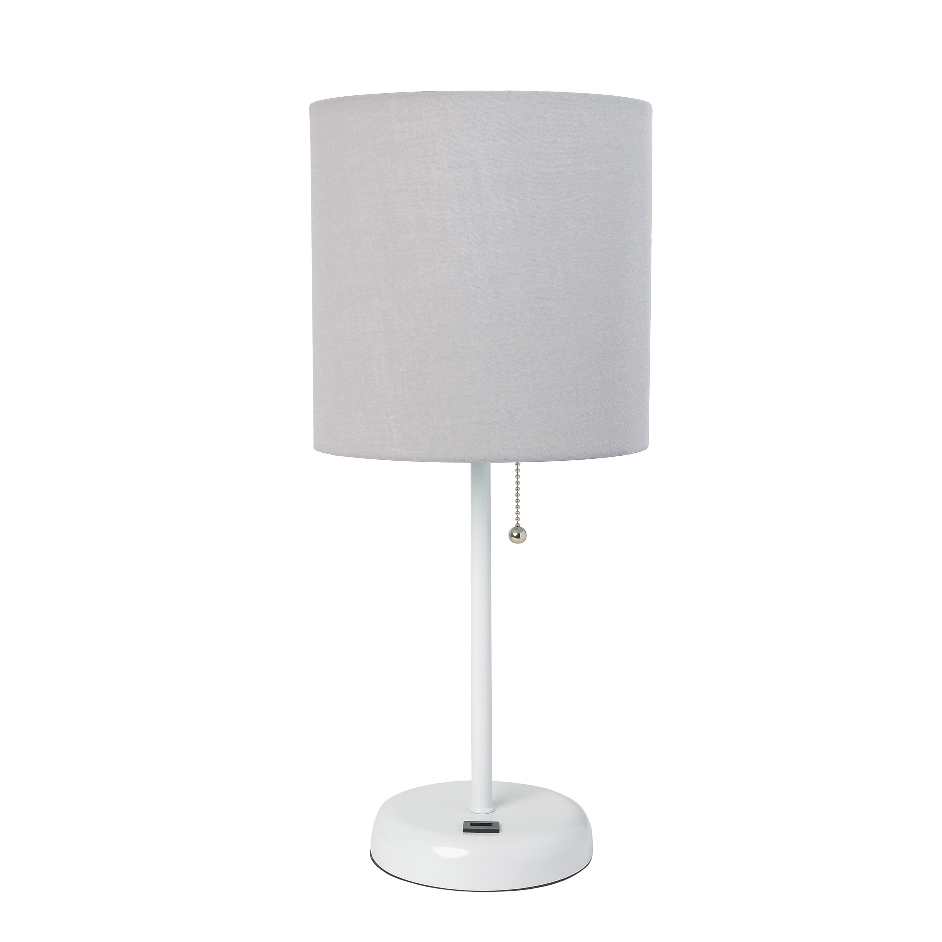 LimeLights White Stick Lamp with USB charging port and Fabric Shade, Gray
