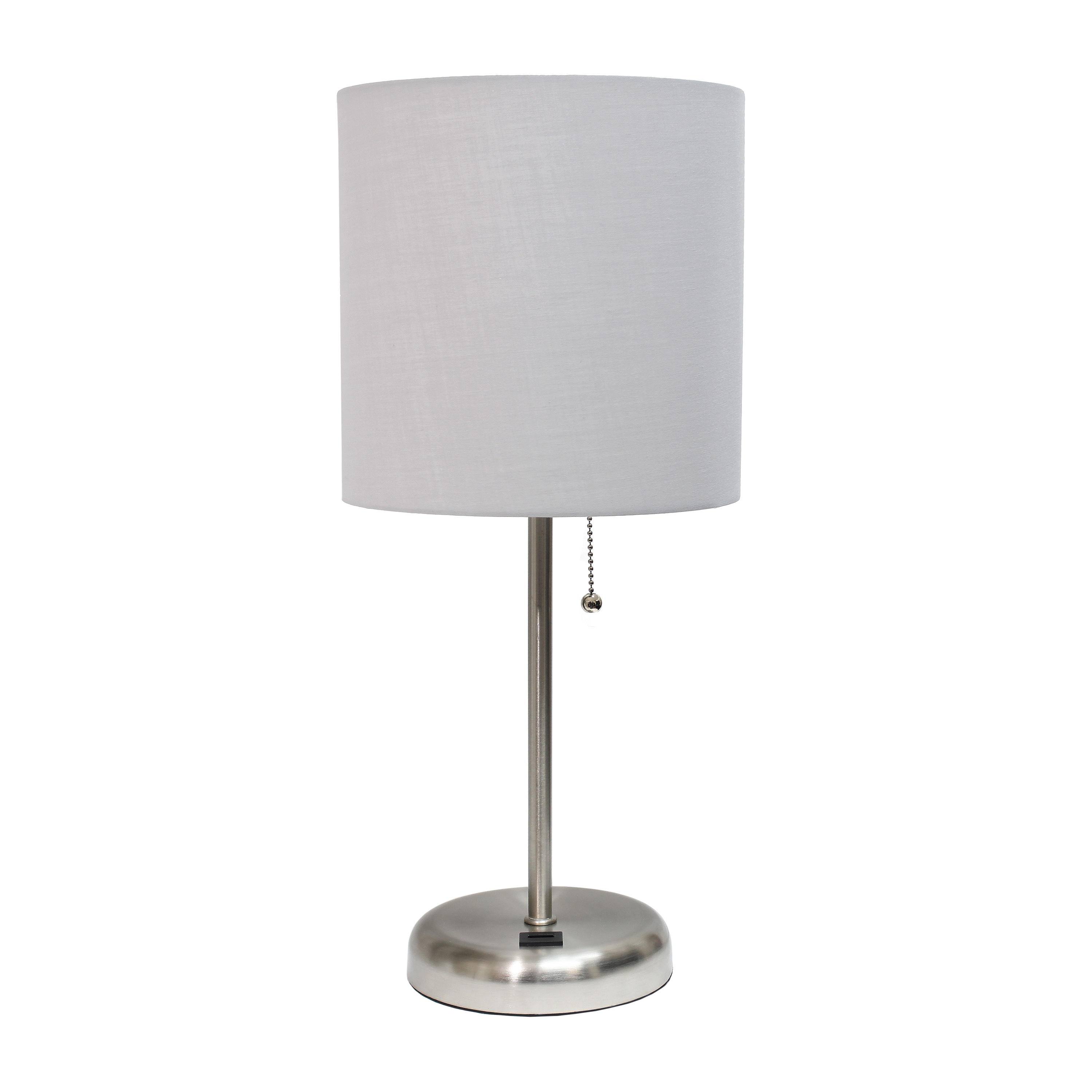 LimeLights Stick Lamp with USB charging port and Fabric Shade, Gray
