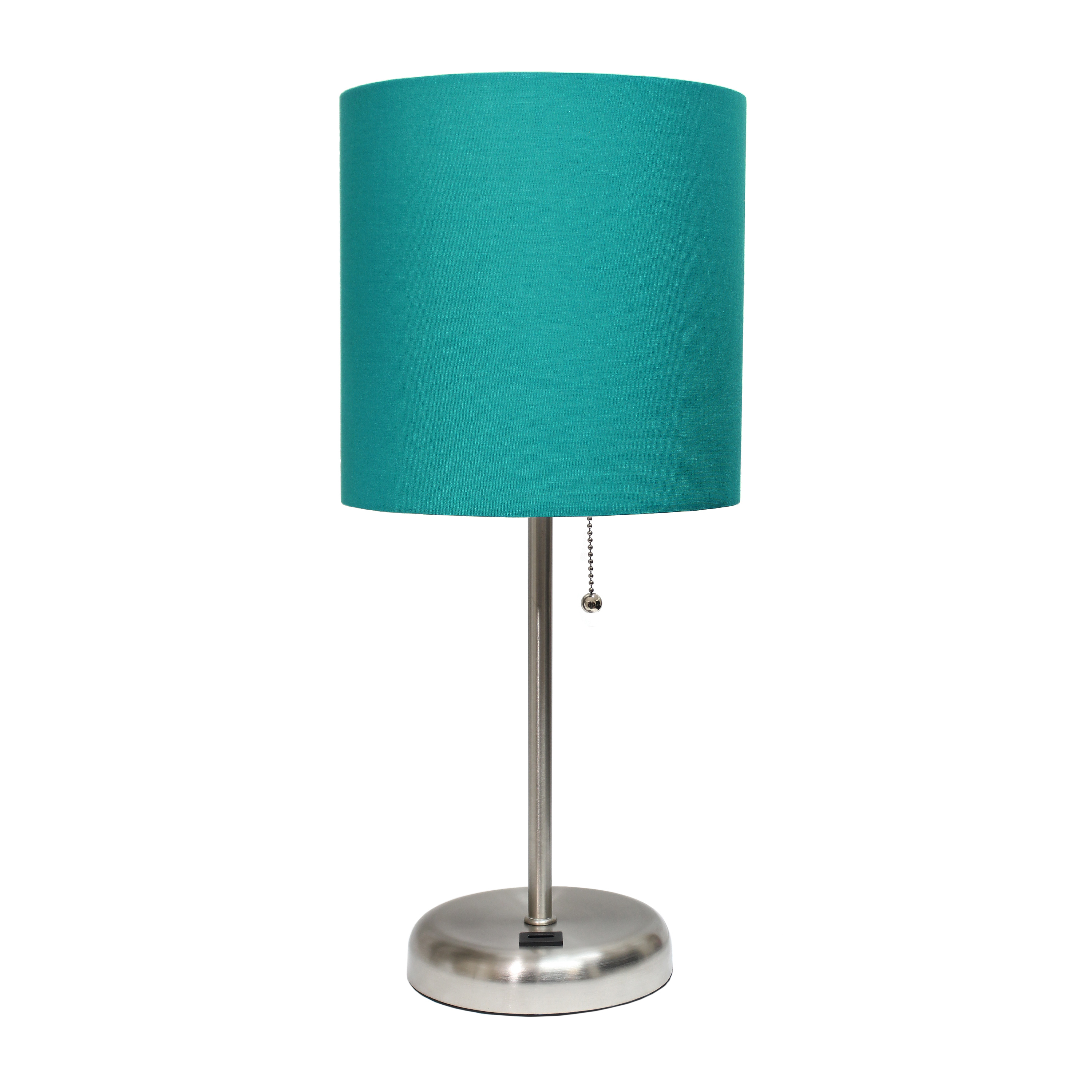 LimeLights Stick Lamp with USB charging port and Fabric Shade, Teal