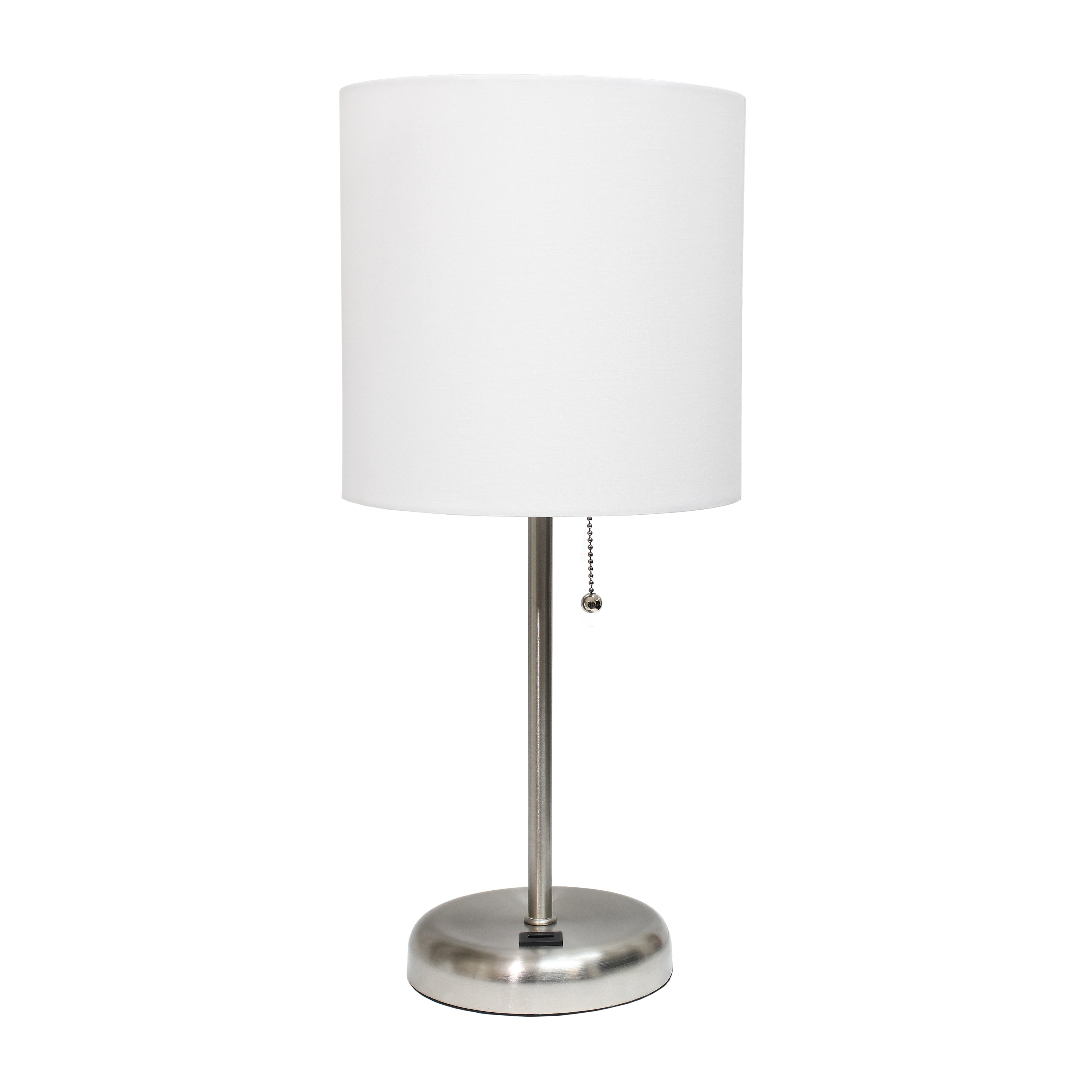 LimeLights Stick Lamp with USB charging port and Fabric Shade, White