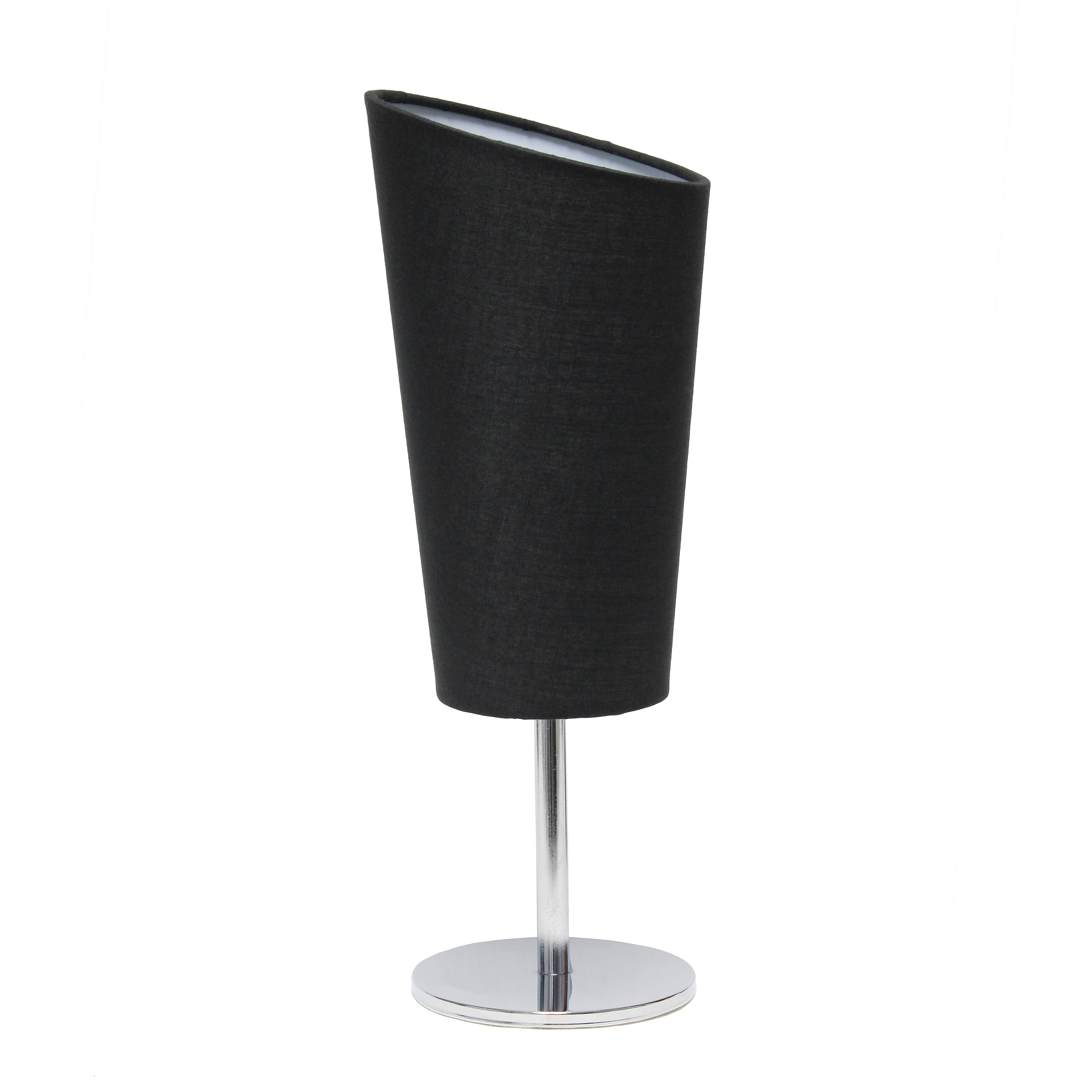 Simple Designs Mini Chrome Table Lamp with Angled Fabric Shade
