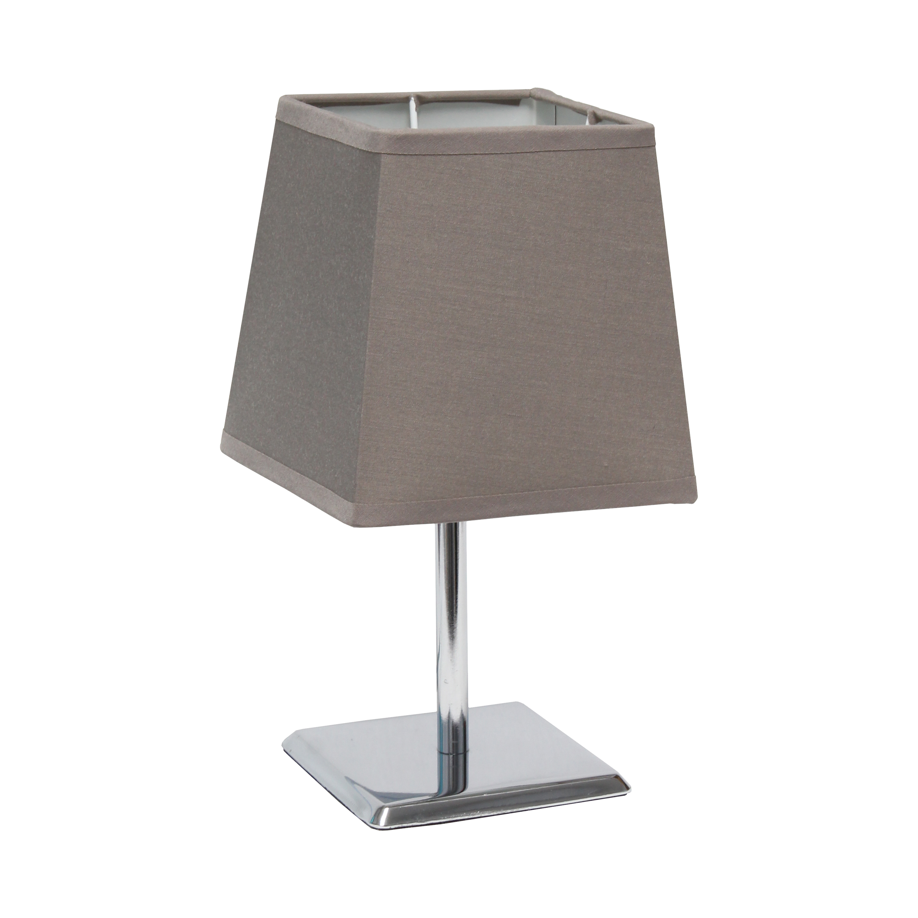 Simple Designs Mini Chrome Table Lamp with Squared Empire Fabric Shade