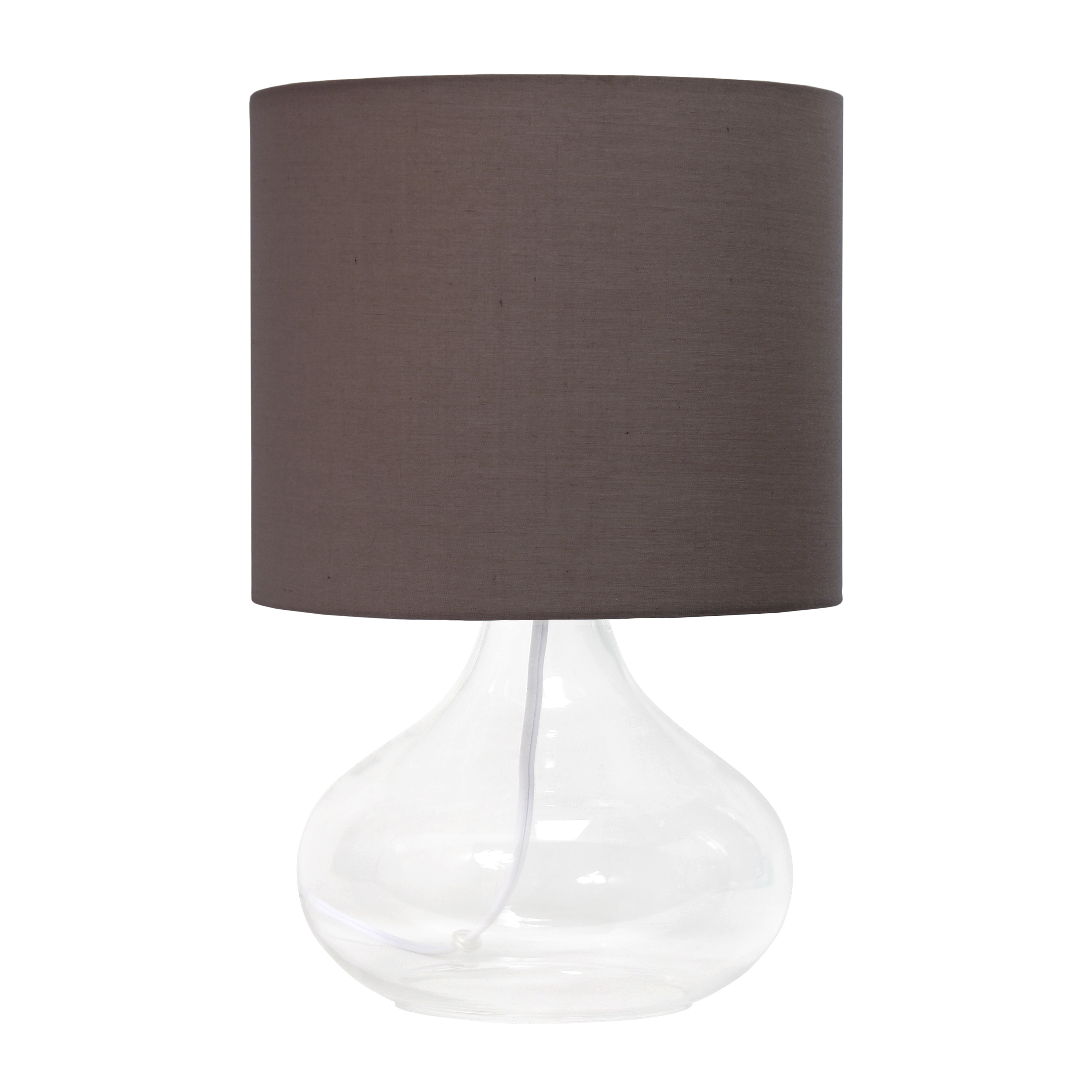 Simple Designs Glass Raindrop Table Lamp with Fabric Shade, Clear with Gray Shade