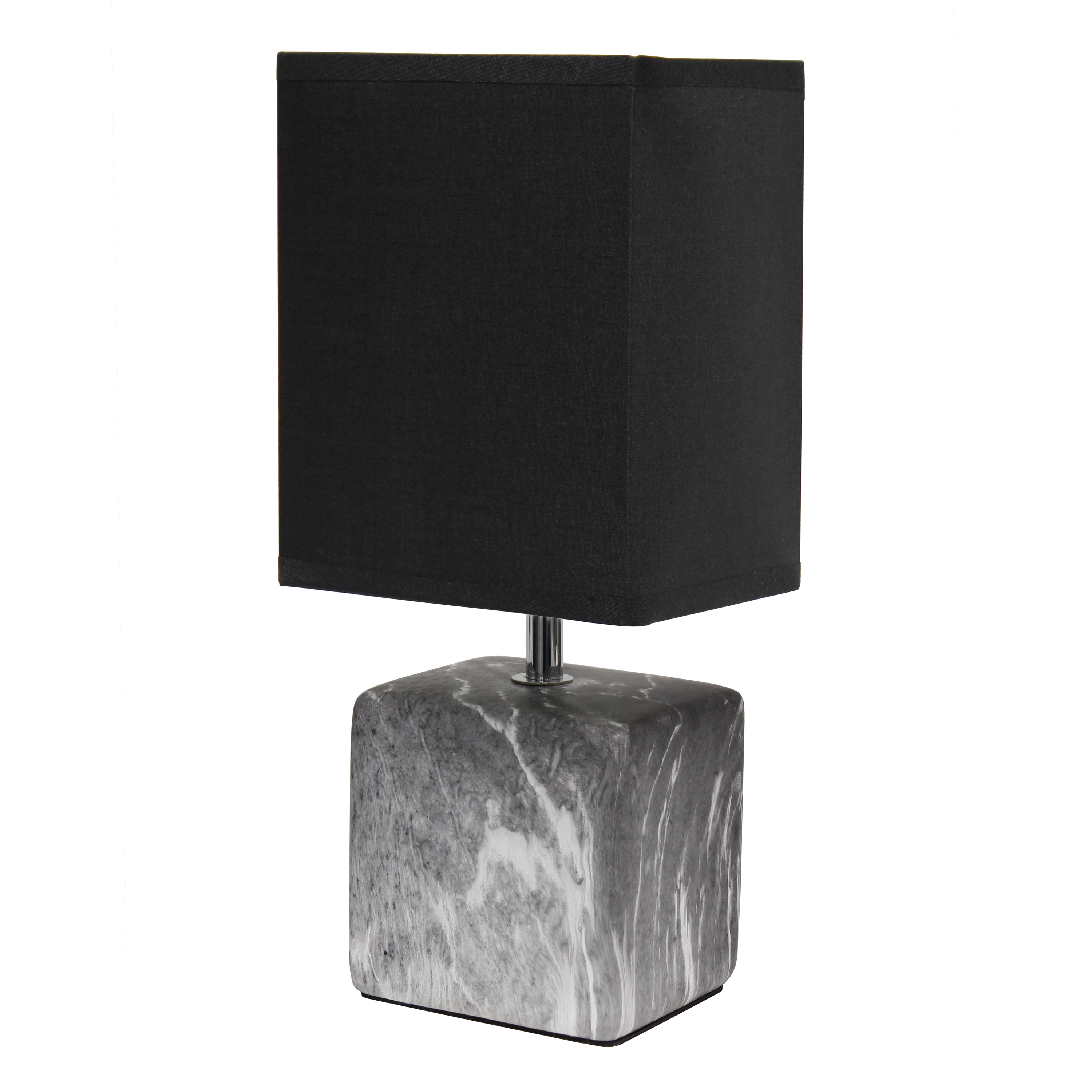 Simple Designs Petite Marbled Ceramic Table Lamp with Fabric Shade, Black with Black Shade