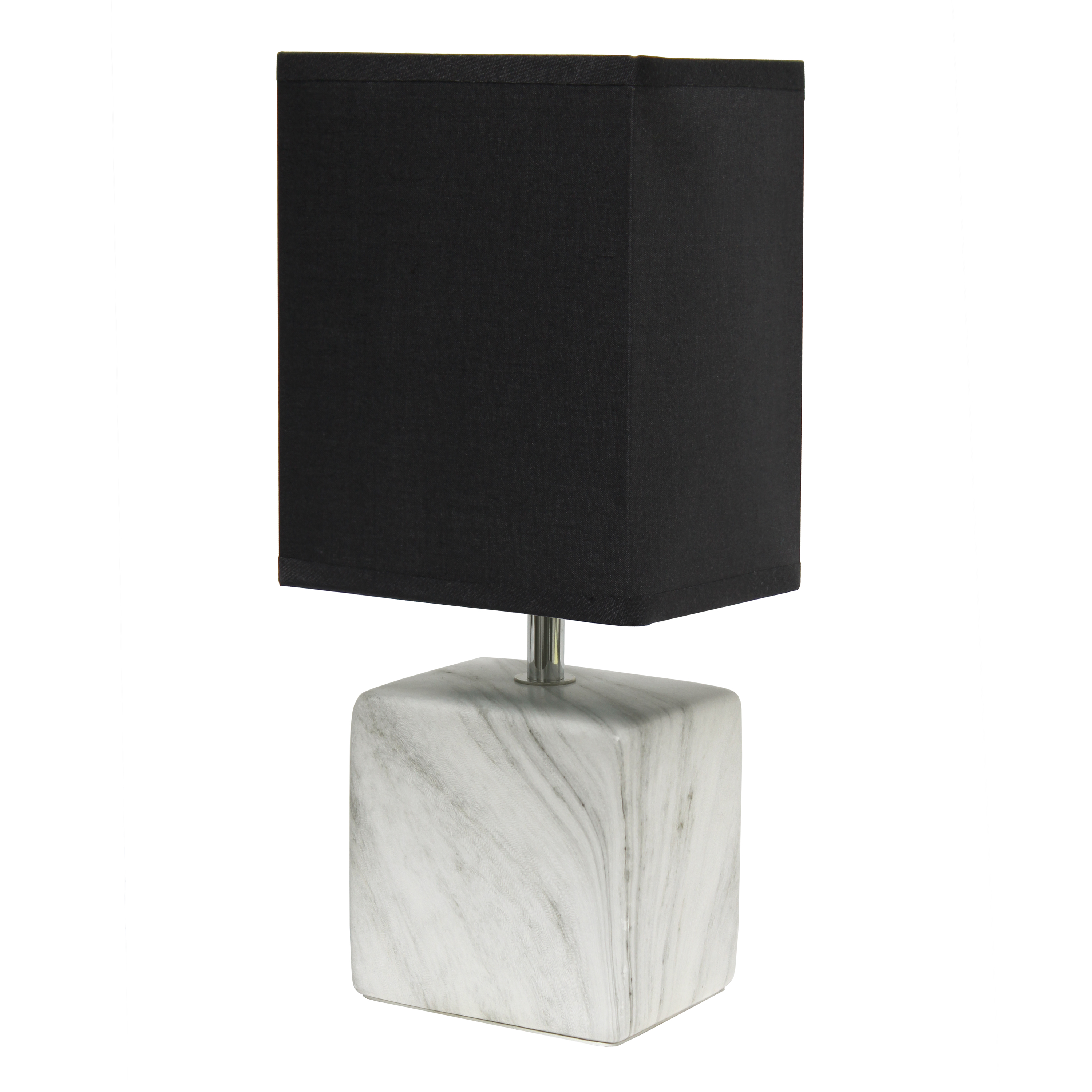 Simple Designs Petite Marbled Ceramic Table Lamp with Fabric Shade, White with Black Shade
