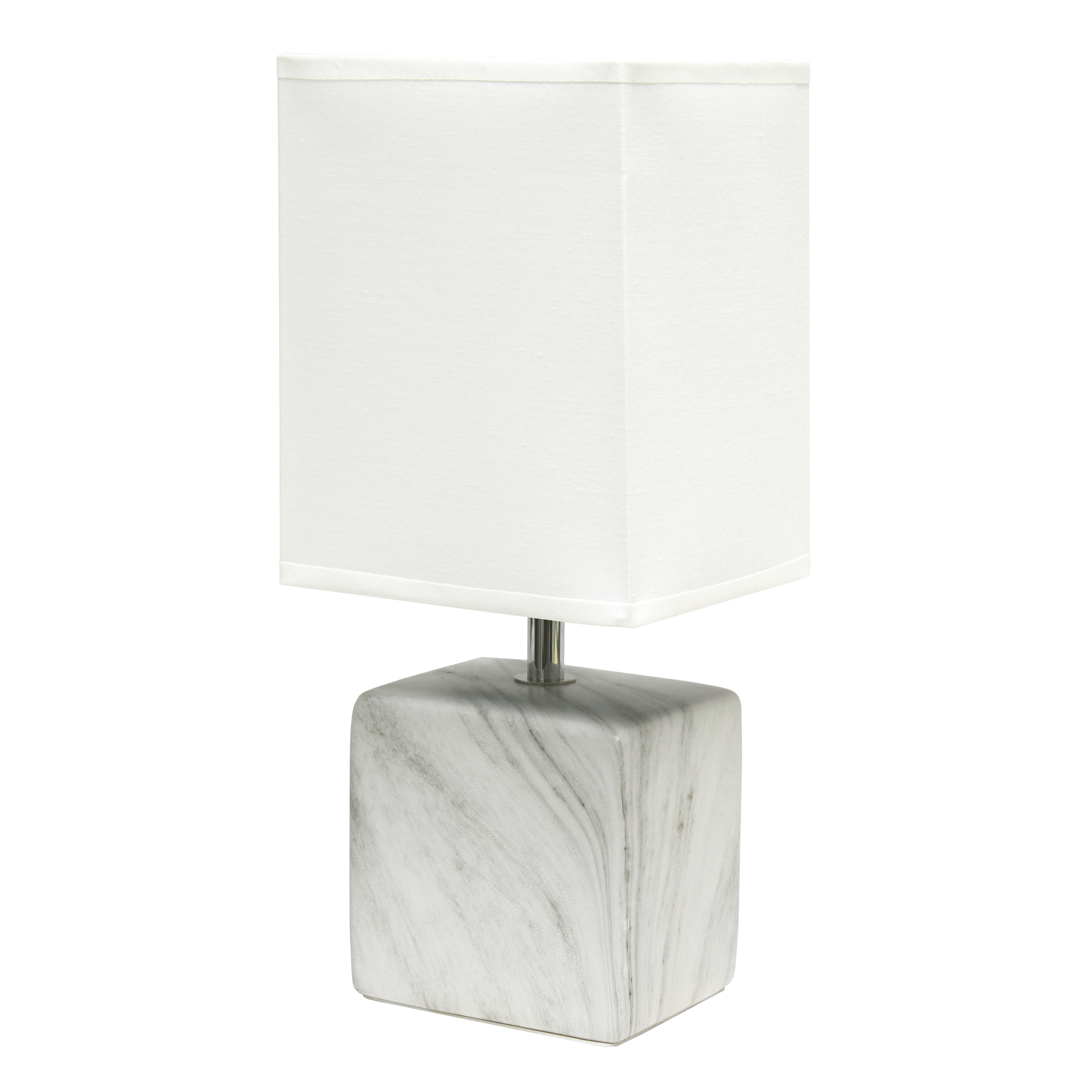 Simple Designs Petite Marbled Ceramic Table Lamp with Fabric Shade, White with White Shade