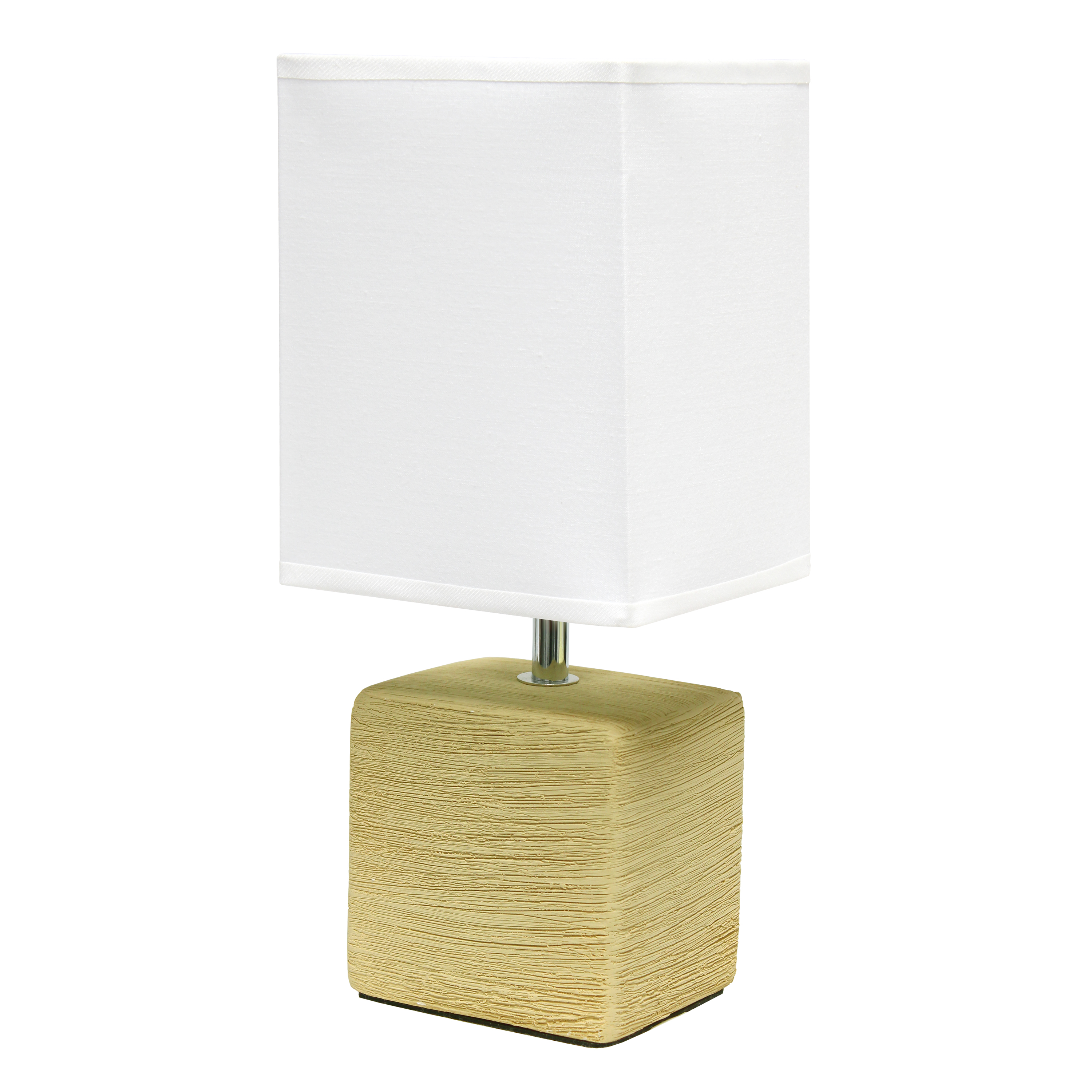 Simple Designs Petite Faux Stone Table Lamp with Fabric Shade, Beige with White Shade