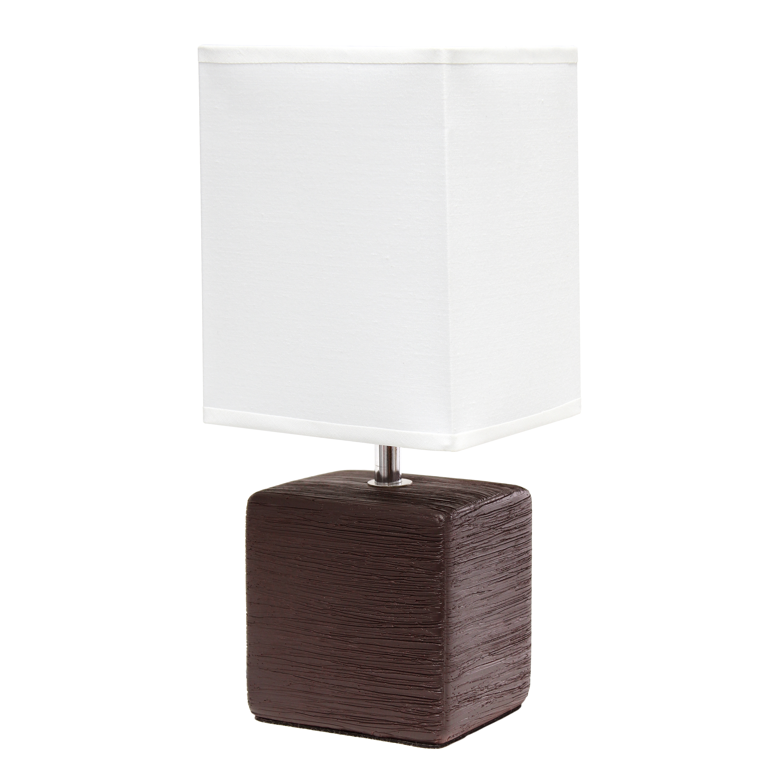 Simple Designs Petite Faux Stone Table Lamp with Fabric Shade, Brown with White Shade