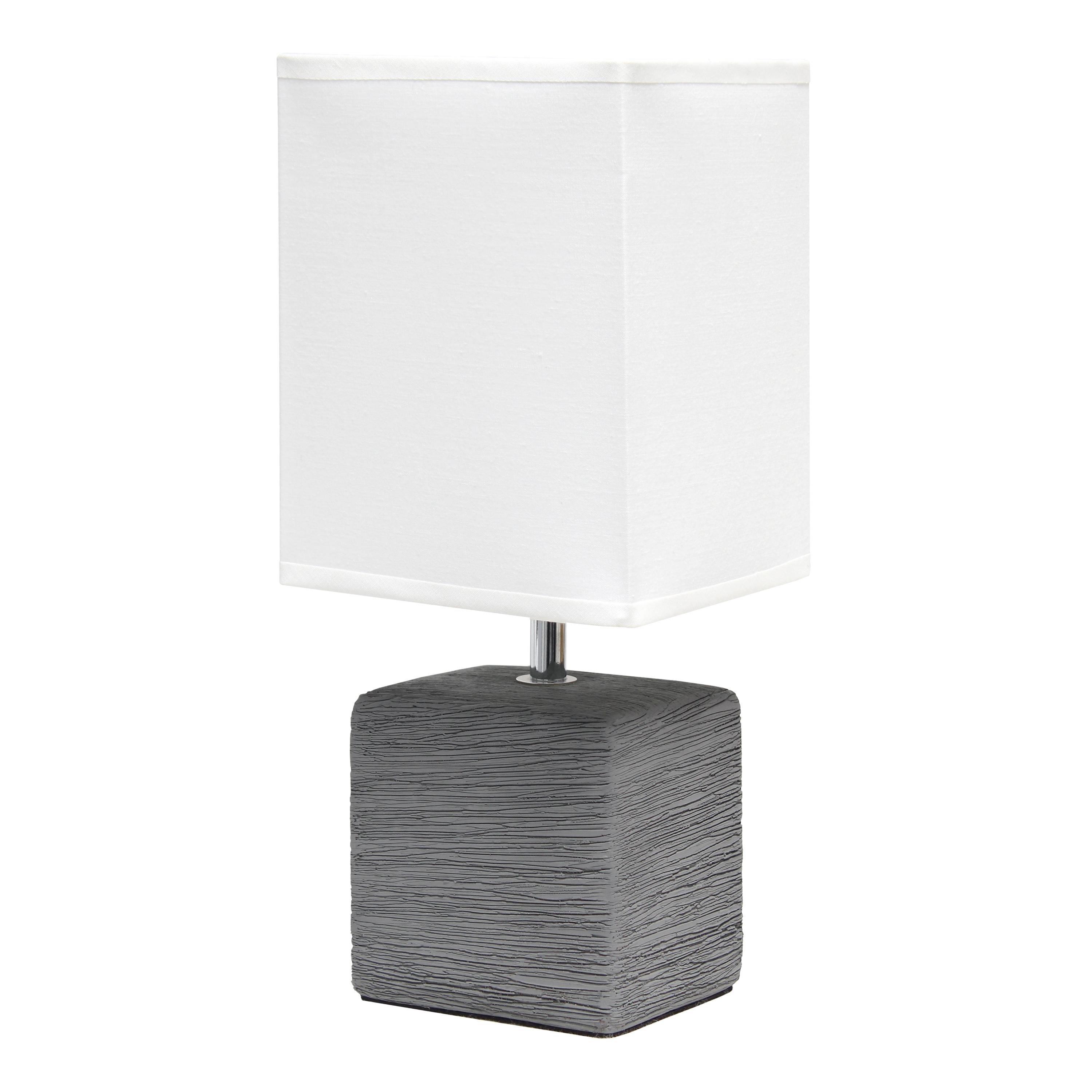 Simple Designs Petite Faux Stone Table Lamp with Fabric Shade, Gray with White Shade