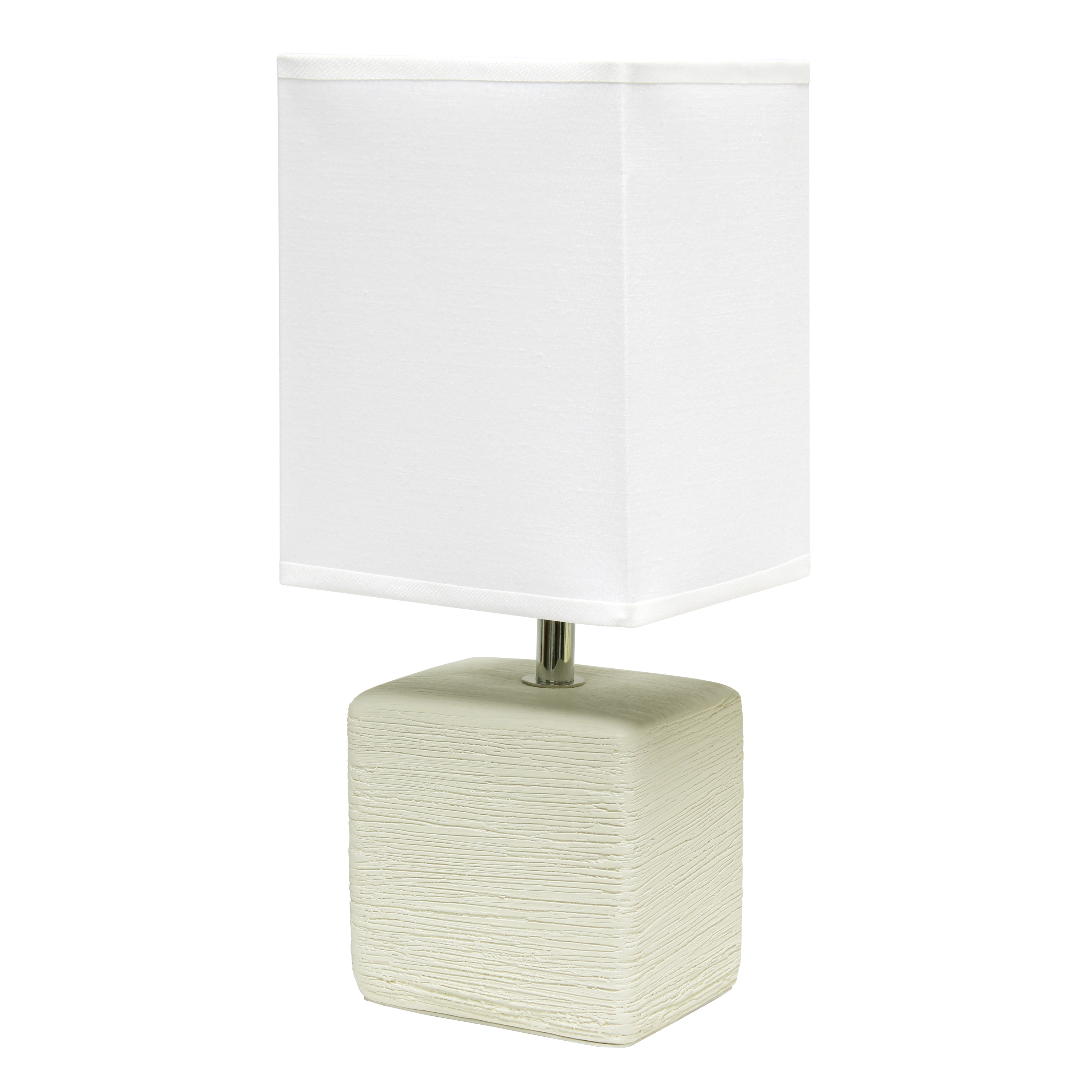 Simple Designs Petite Faux Stone Table Lamp with Fabric Shade, OffWhite with White Shade