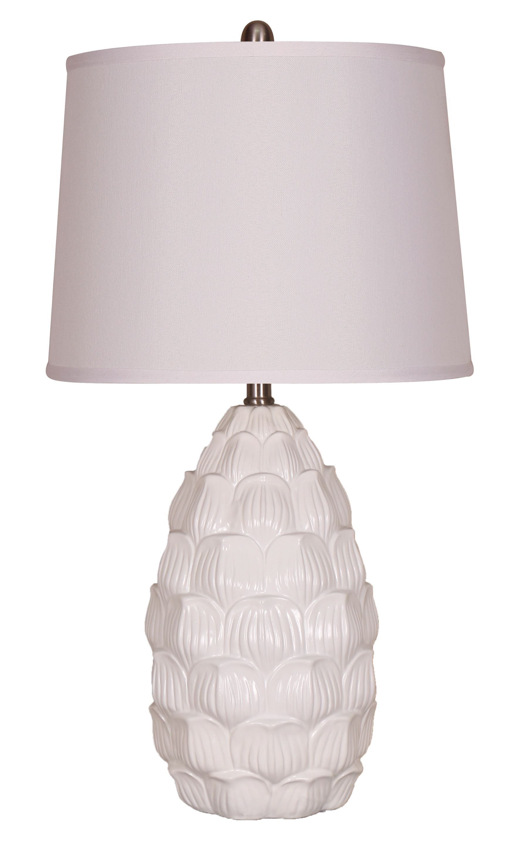 Elegant Designs Resin Table Lamp with Fabric Shade, White