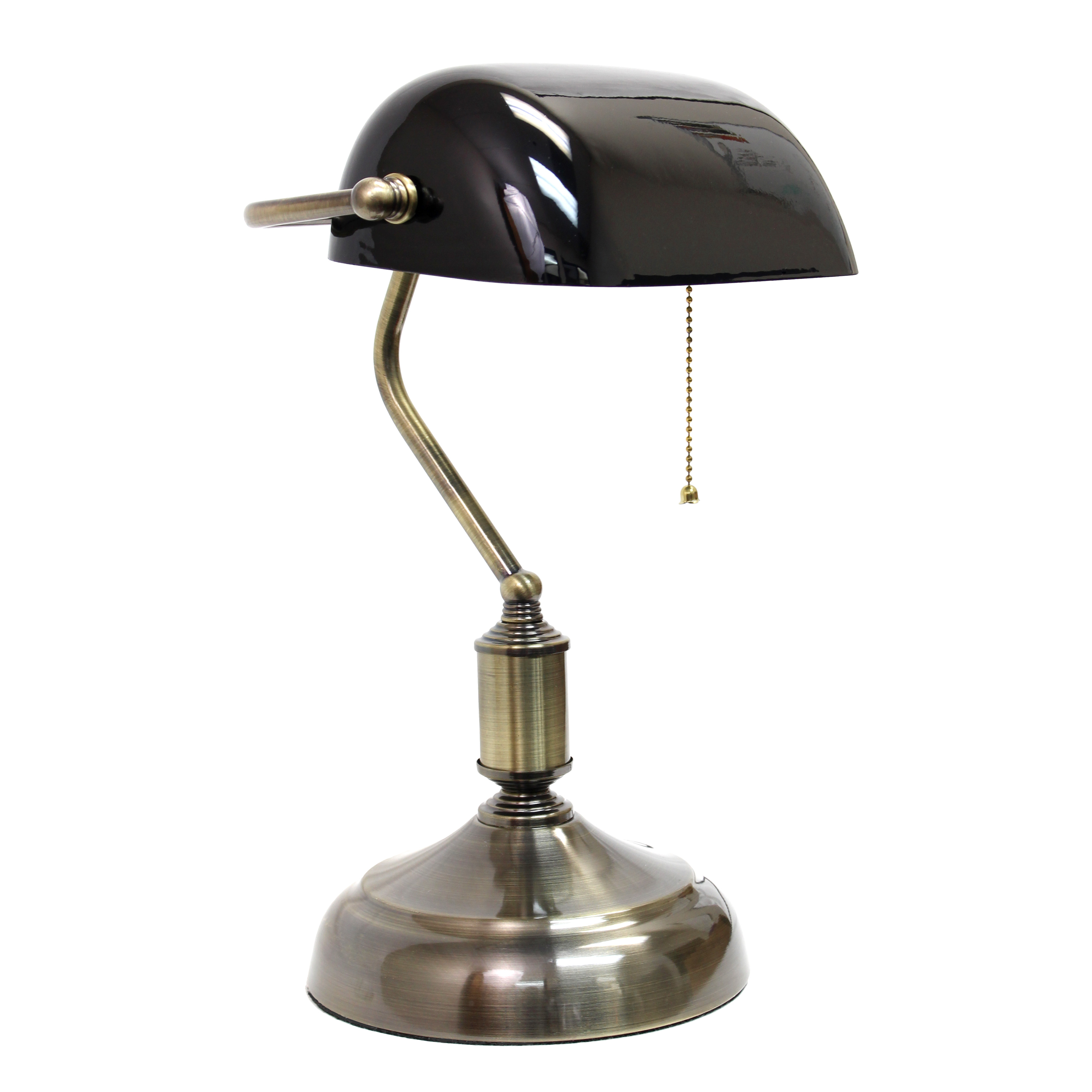 Simple Designs Executive Banker's Desk Lamp with Glass Shade, Black