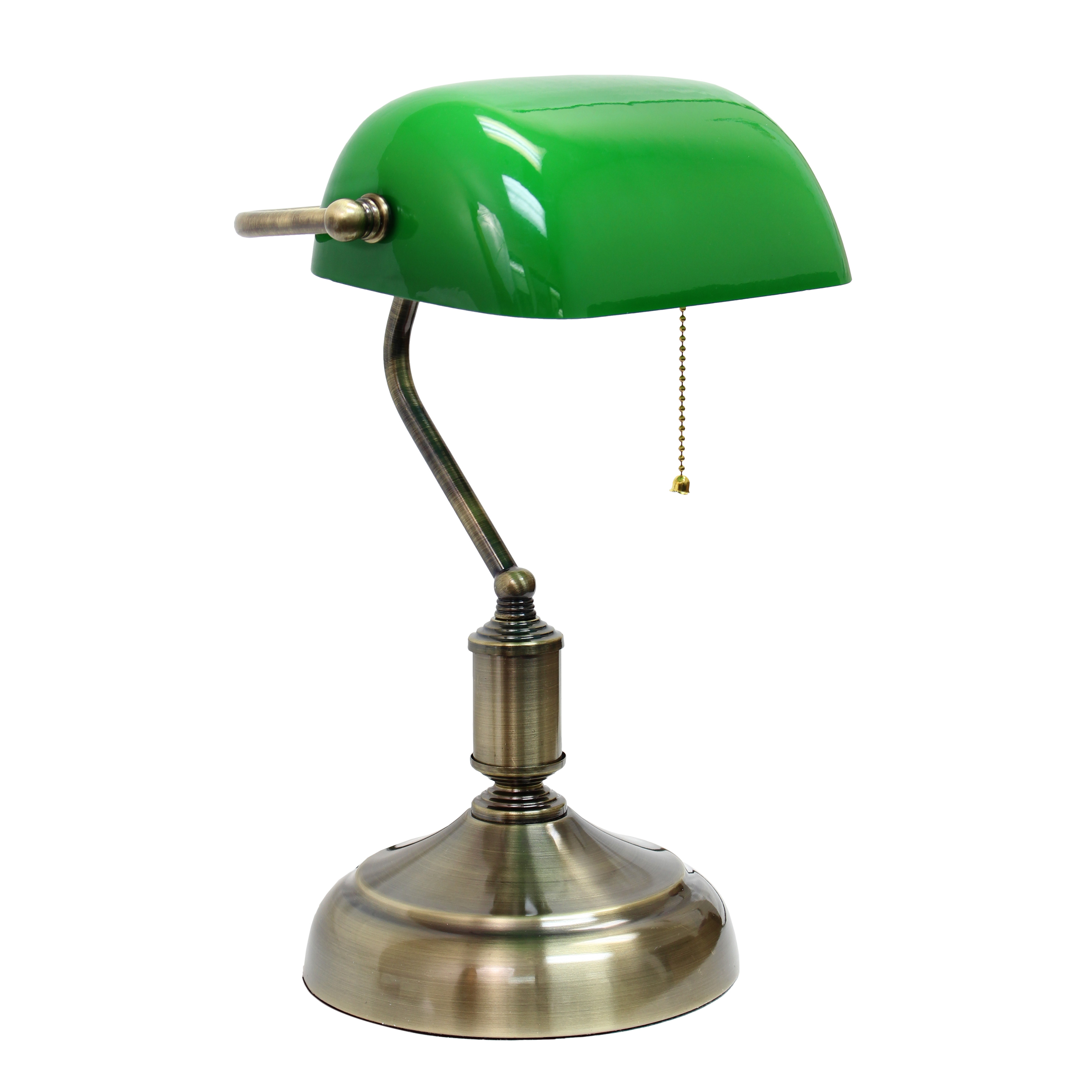 Simple Designs Executive Banker's Desk Lamp with Glass Shade, Green