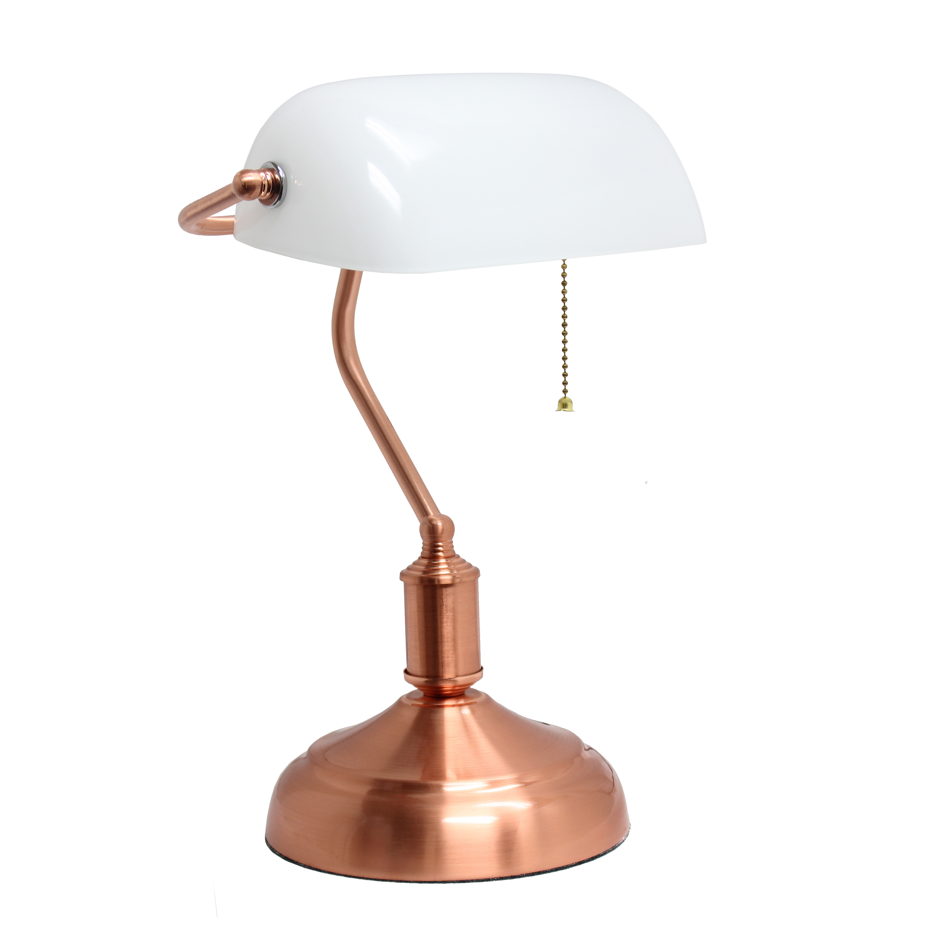 Simple Designs Executive Banker's Desk Lamp with White Glass Shade, Rose Gold