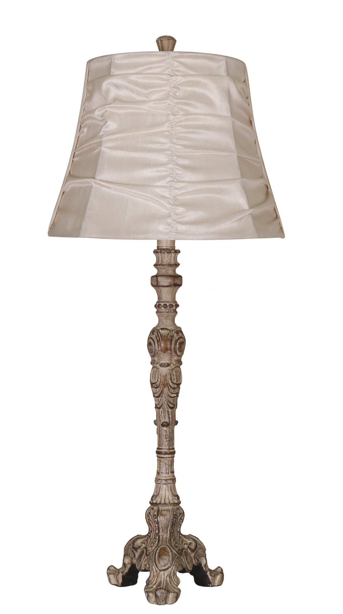 Elegant Designs Antique Style Buffet Table Lamp with Cream Ruched Shade