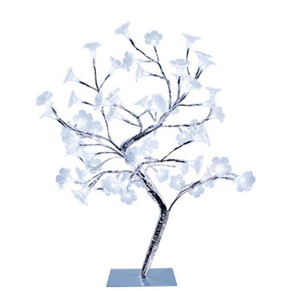 Simple Designs Large White Morning Glory LED Lighted Decorative Tree