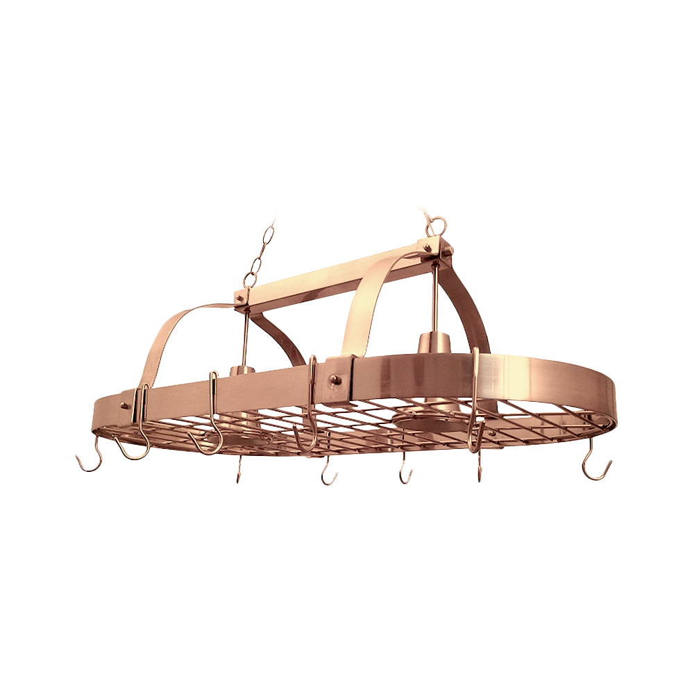 Elegant Designs 2 Light Kitchen Pot Rack with Downlights, Copper