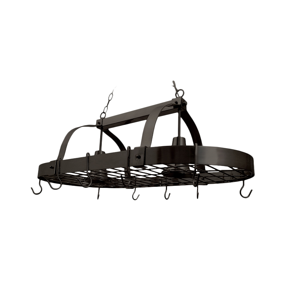 Elegant Designs  2 Light Kitchen Pot Rack with Downlights, Oil-Rubbed Bronze