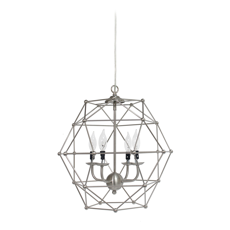 Elegant Designs 4 Light Hexagon Industrial Rustic Pendant Light, Brushed Nickel