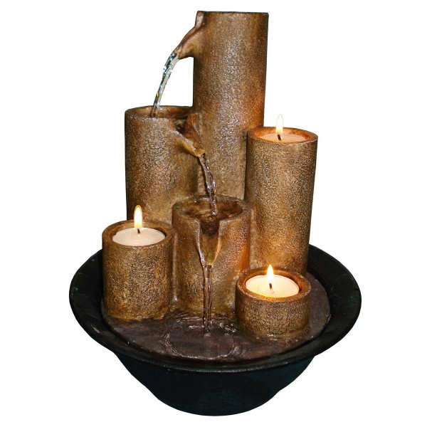Tabletop Fountain with Three Candles