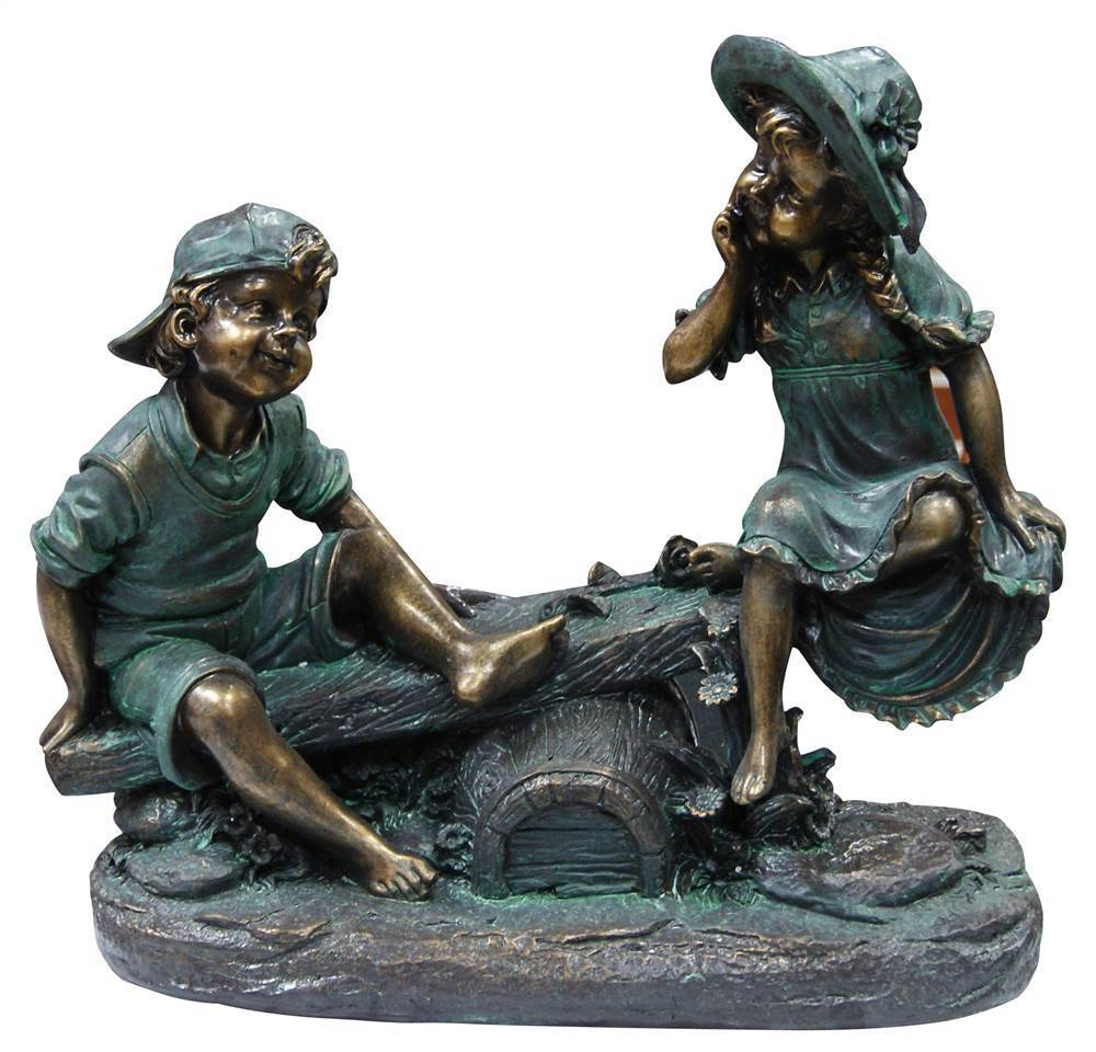 Girl and Boy Playing on Teeter Totter Statue
