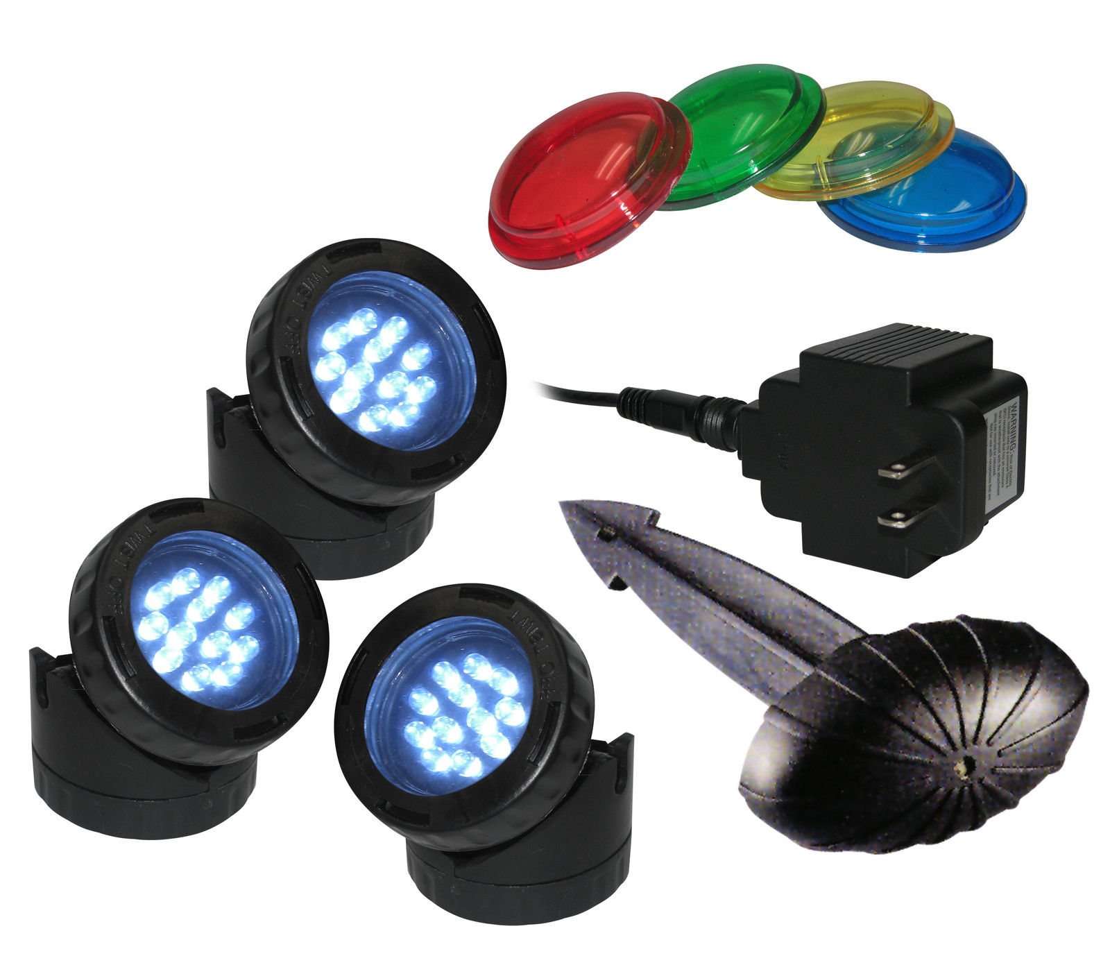 3 Pack LED Pond Light With Photocell & Transformer