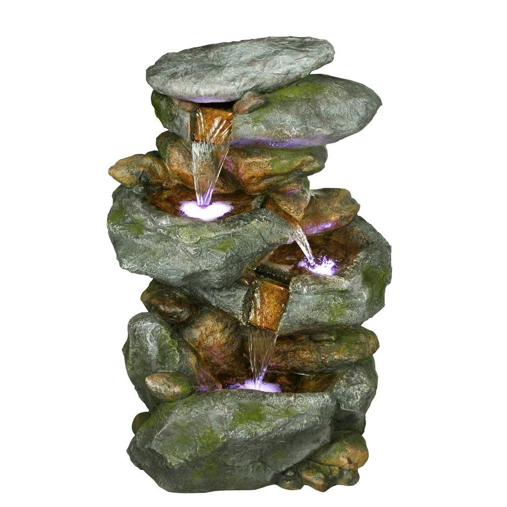 Rock Waterfall Fountian with LED Lights
