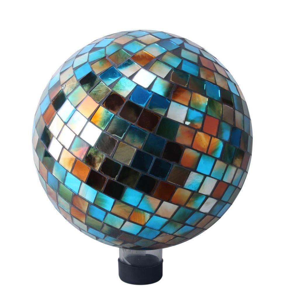 """10"""" Mosaic Gazing Ball Blue/Amber"""