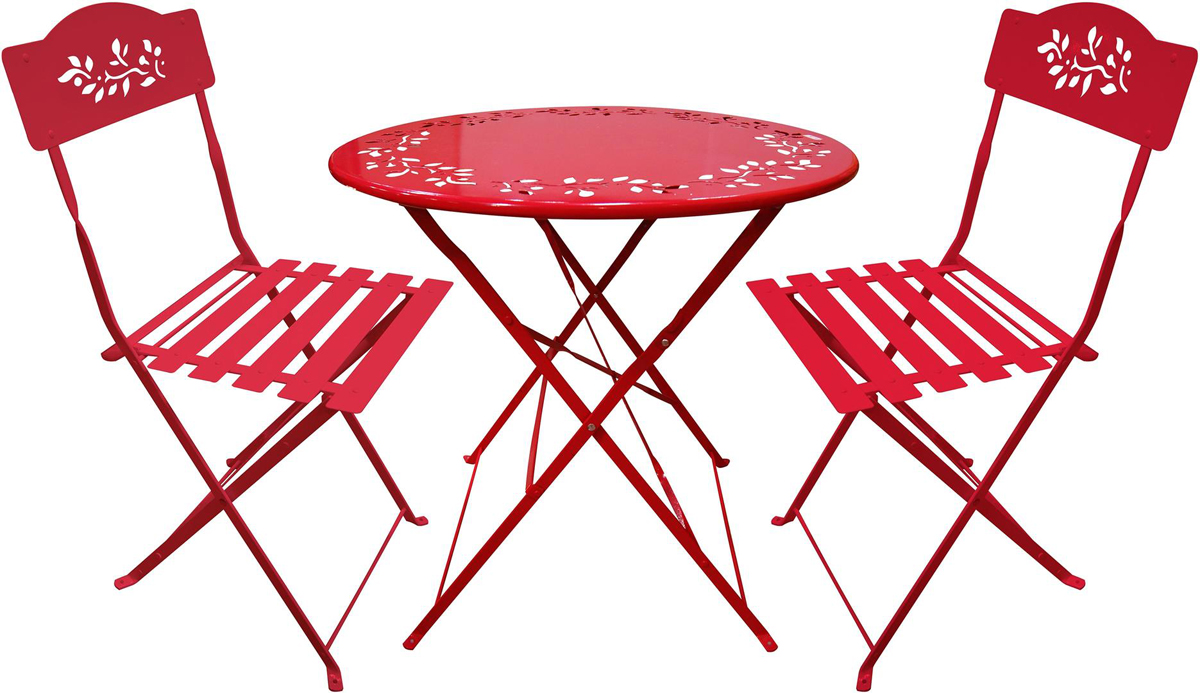 Metal Bistro Set with Two Chairs - Red
