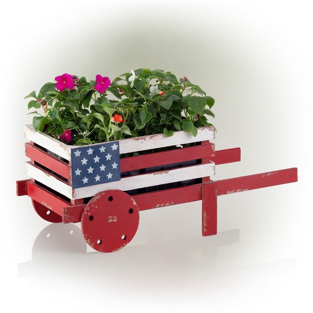 American Flag Wooden Wheelbarrow Planter