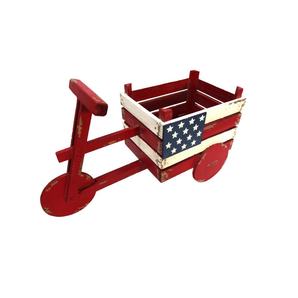 American Flag Tricycle Wood Planter