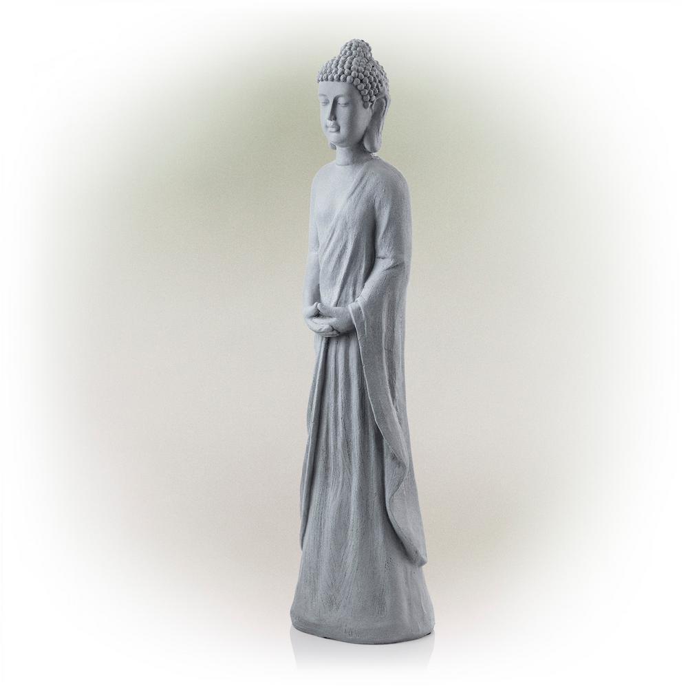 Cement Gray Standing Buddha Statue