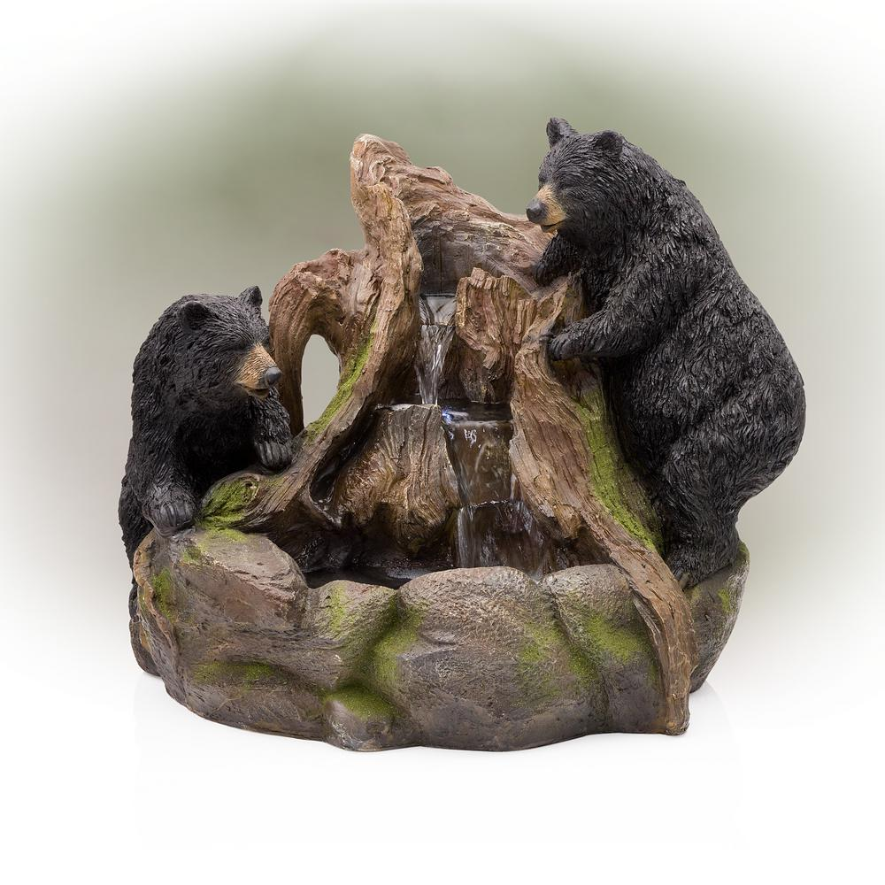 2 Bears Climbing on Rainforest Fountain with LED Lights