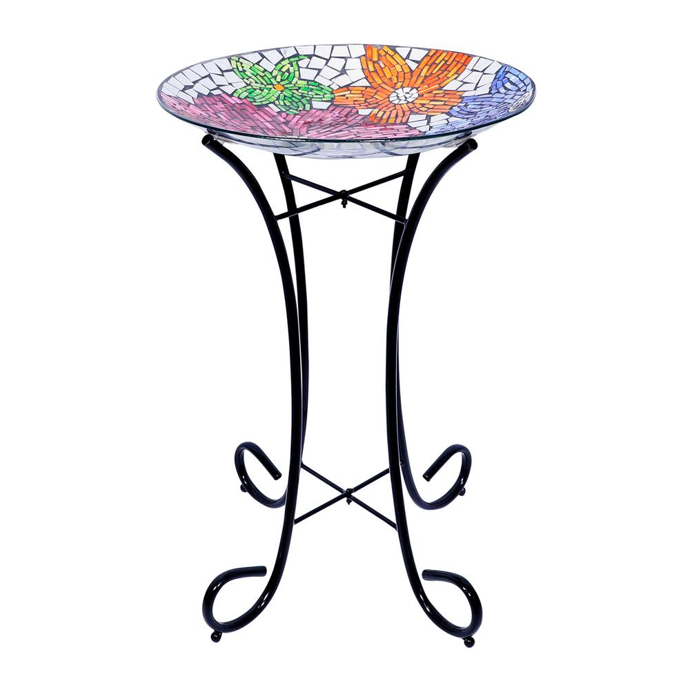 "16"" Mosaic Multi-Flower Glass Birdfeeder - Display of 4"