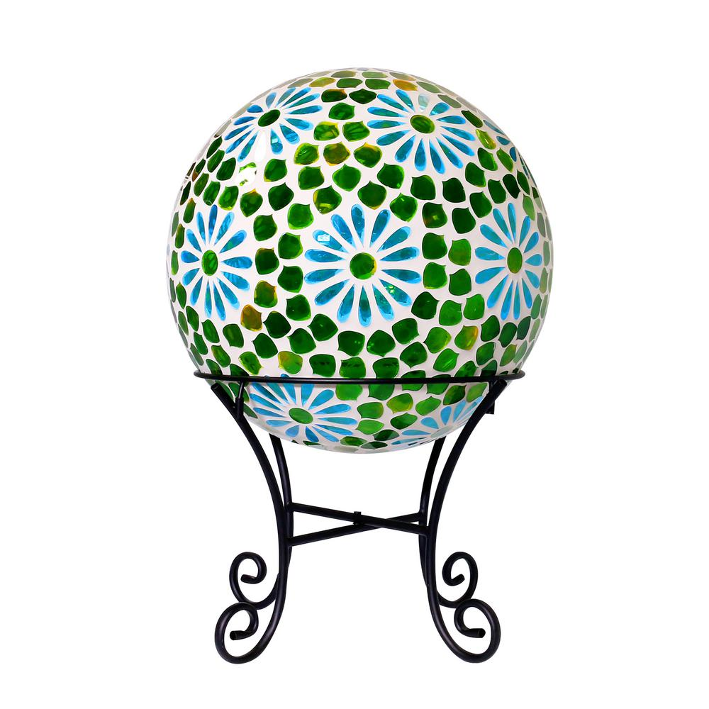 "16"" Green Mosaic Blue Floral Glass LED Gazing Globe"