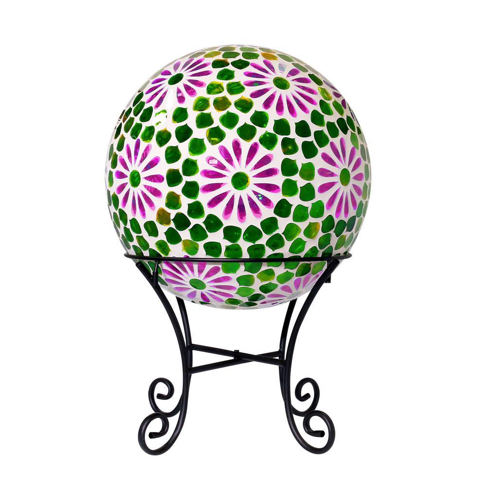 "16"" Green Mosaic Purple Floral Glass LED Gazing Globe"