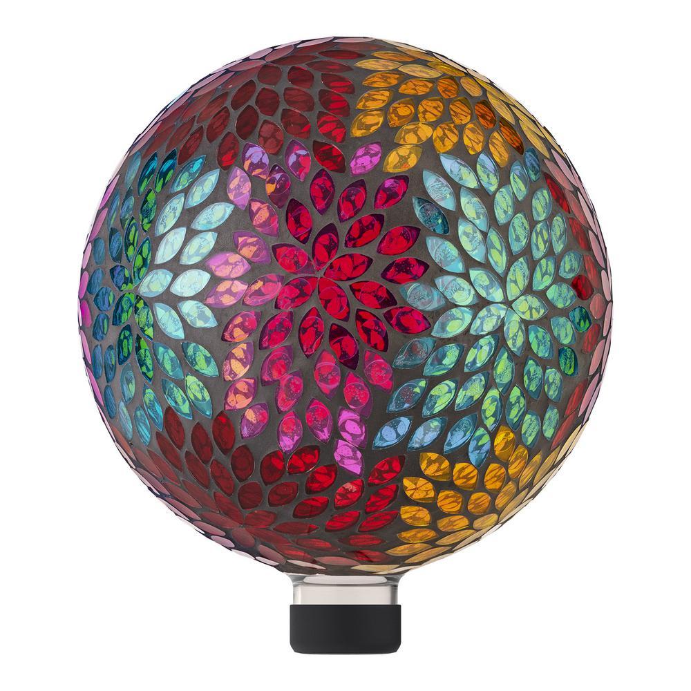 "10"" Colorful Mosaic Leaves Gazing Globe"