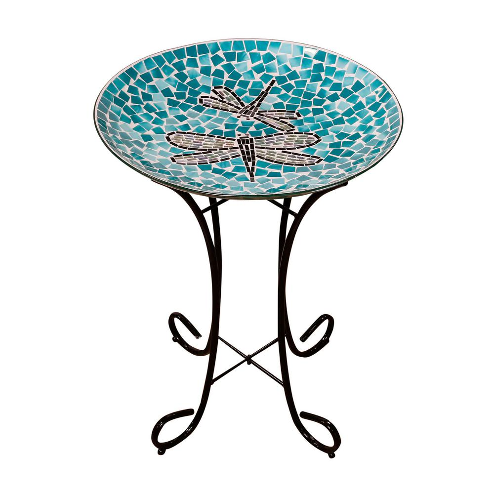 "18"" Mosaic Dragonfly Duo Birdbath with metal stand"