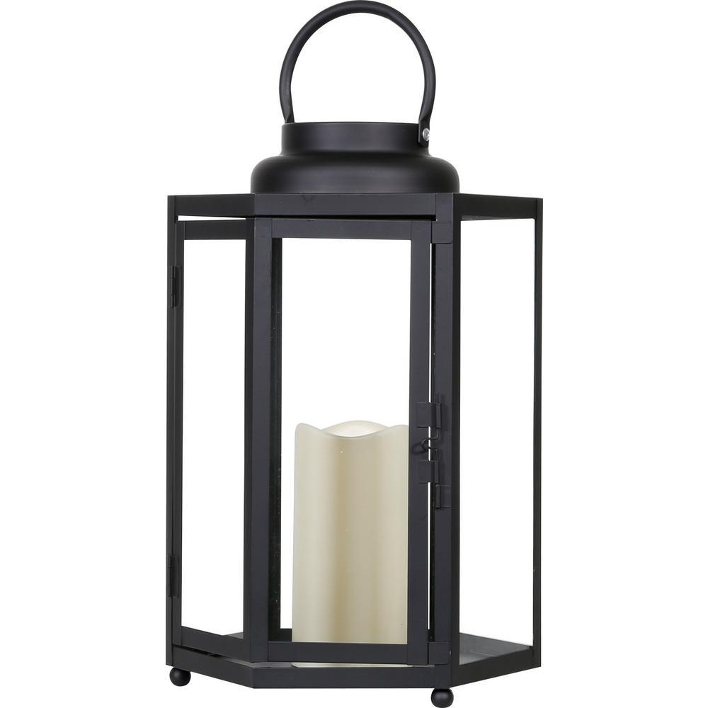 Black Hexagonal Candlelit Lantern with Warm White LEDs