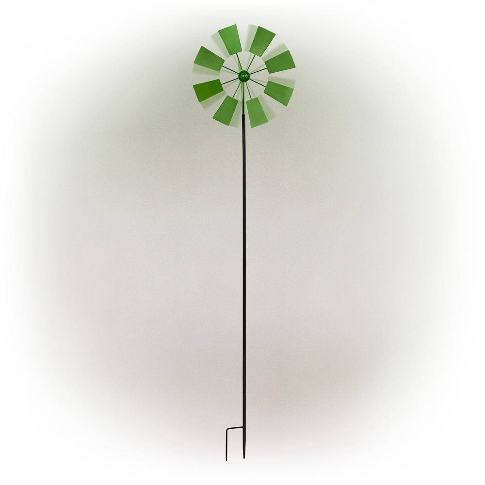 """52"""" Green Metal Windmill Stake"""