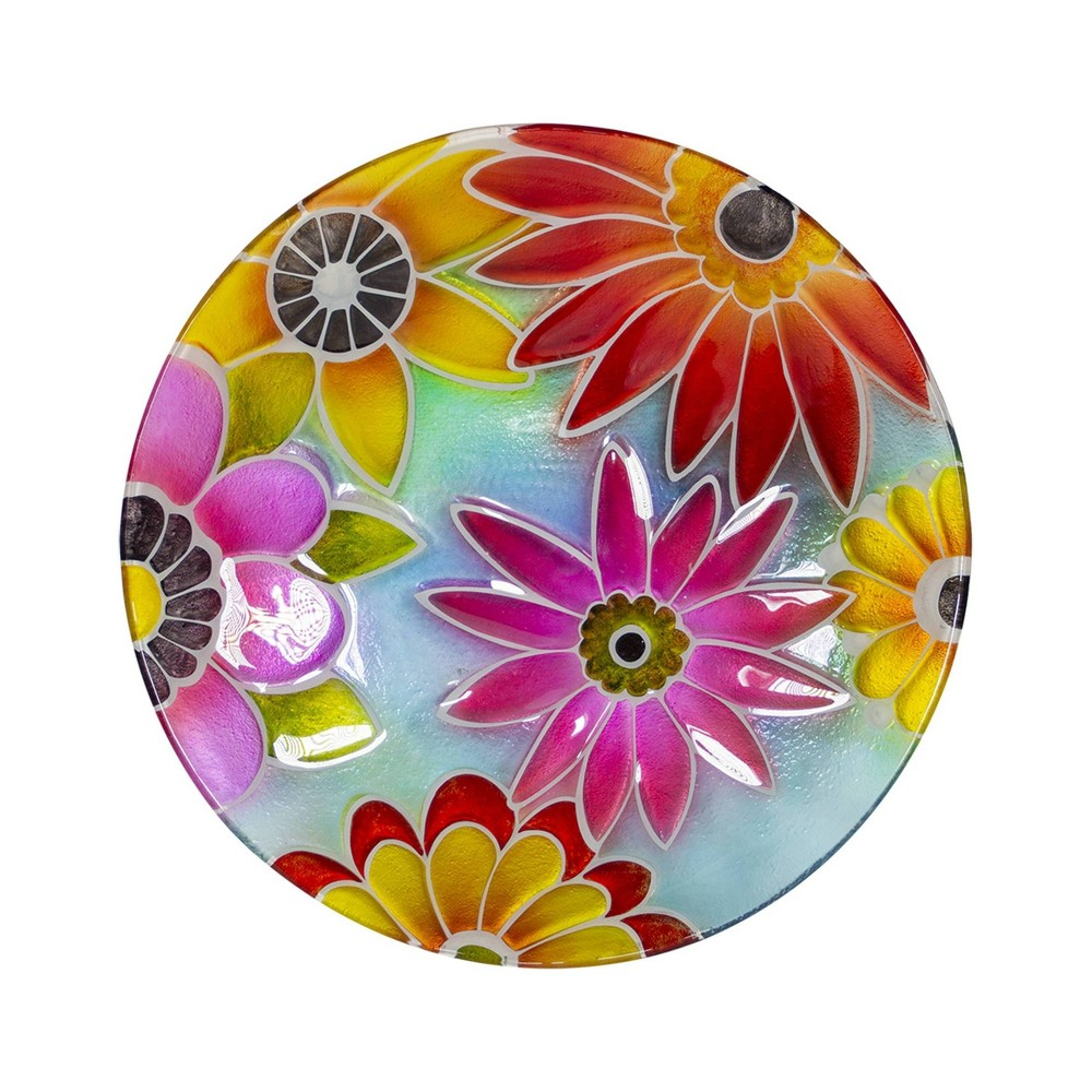 "18"" Glass Birdbath with Colorful Flowers Paint Finish"