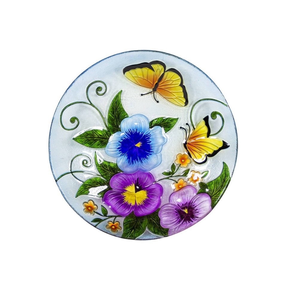 "18"" Glass Birdbath with Colorful Butterfly Paint Finish"